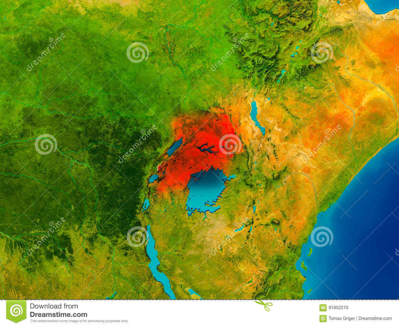 Uganda on physical map stock illustration Illustration of