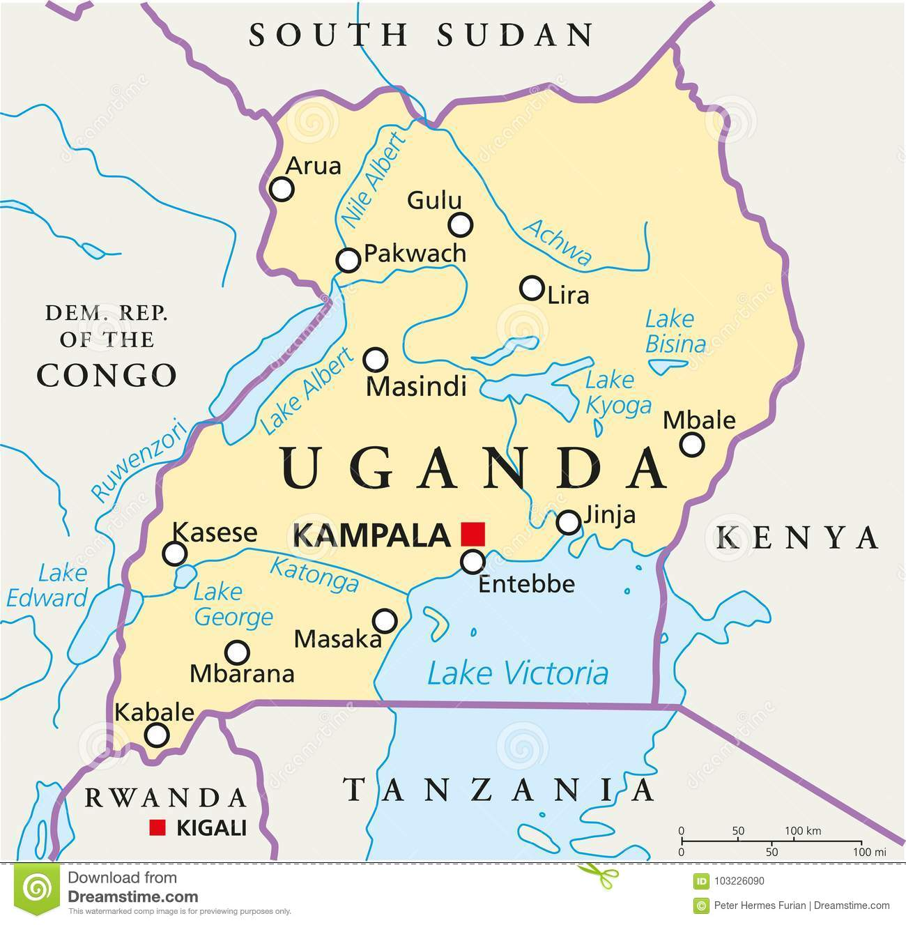 Kampala Uganda Map Uganda Political Map stock vector. Illustration of illustration