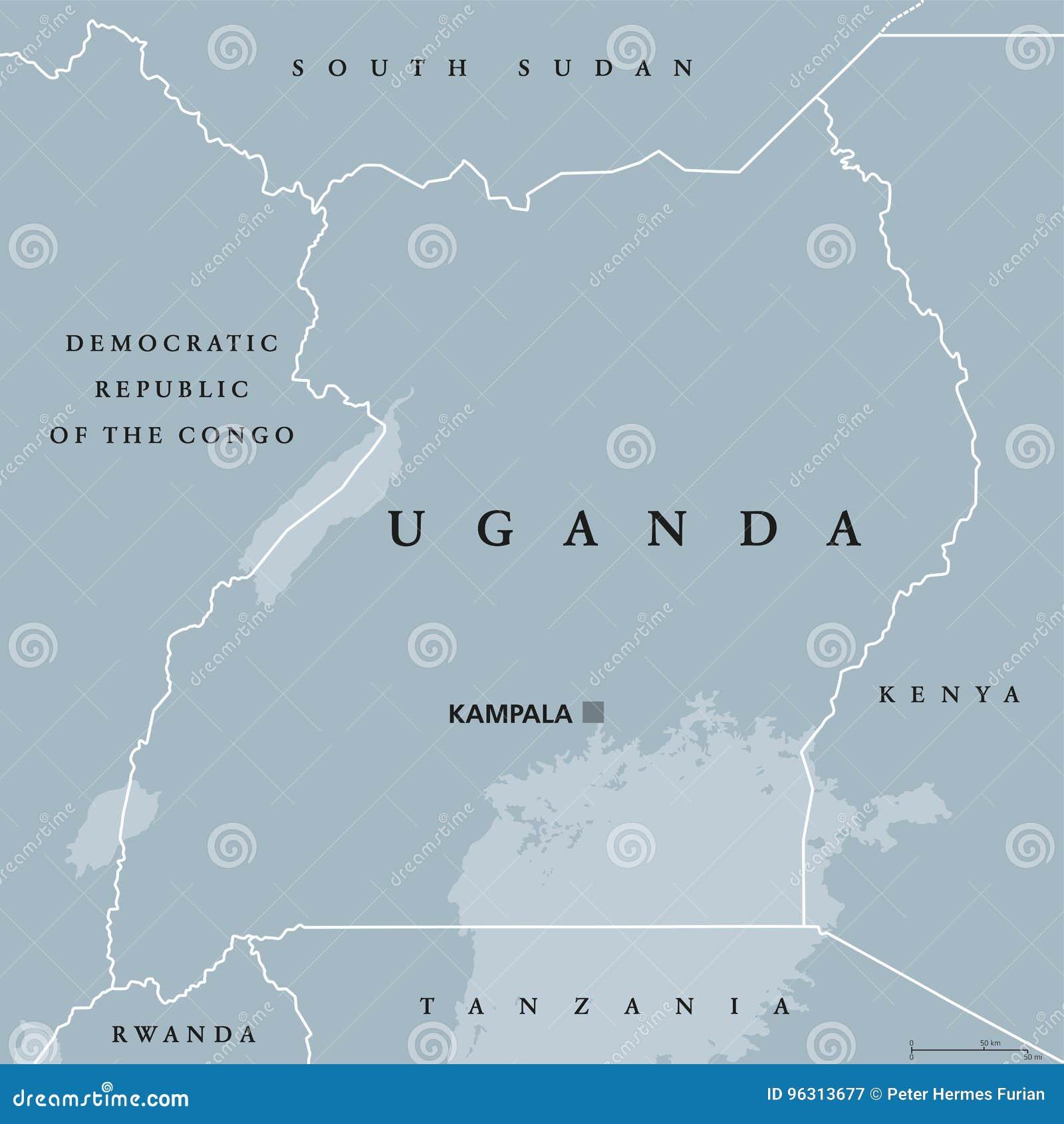 Map Of Africa Lake Victoria.Uganda Political Map Stock Vector Illustration Of Lake 96313677
