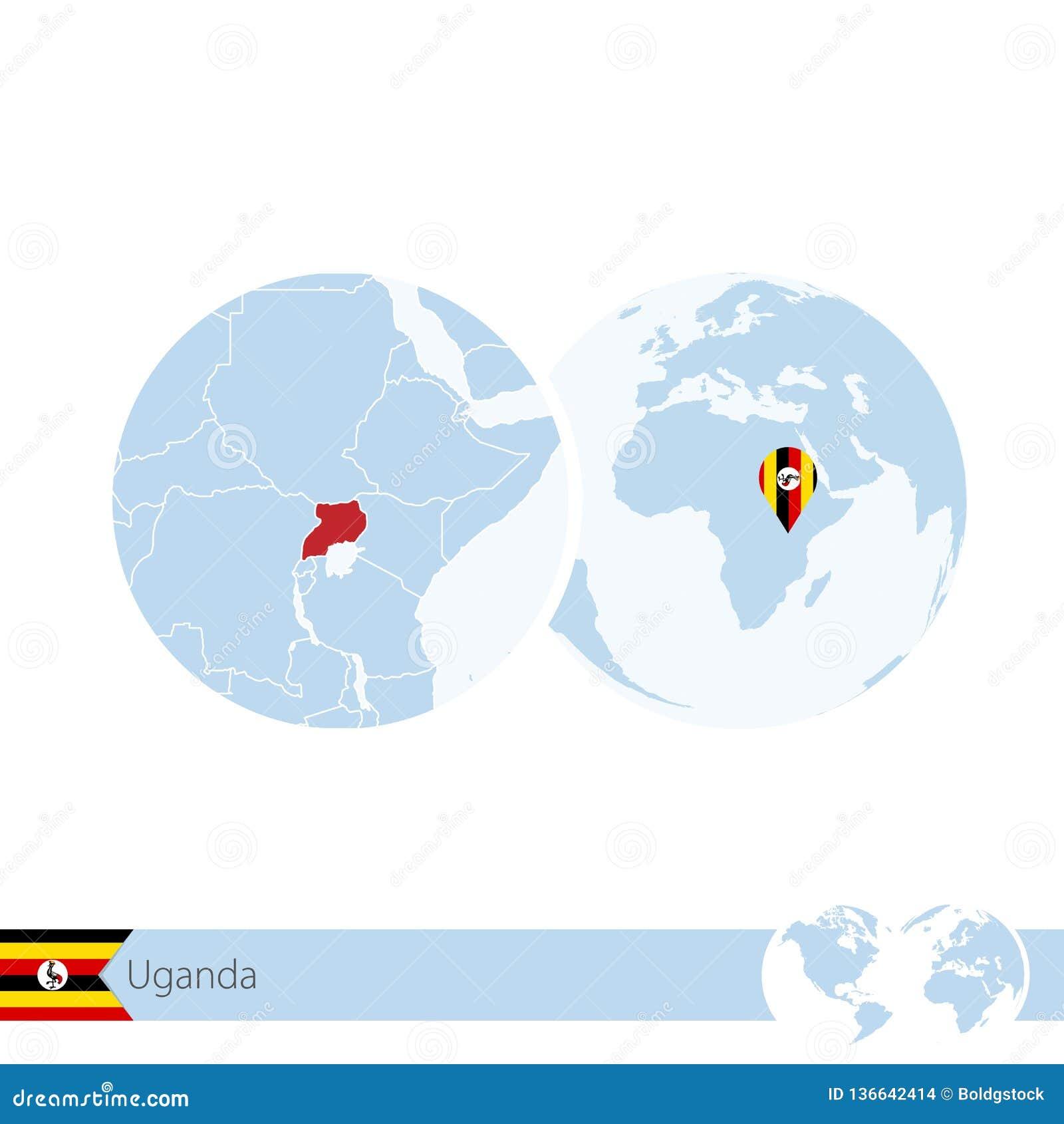 Uganda On World Globe With Flag And Regional Map Of Uganda ...