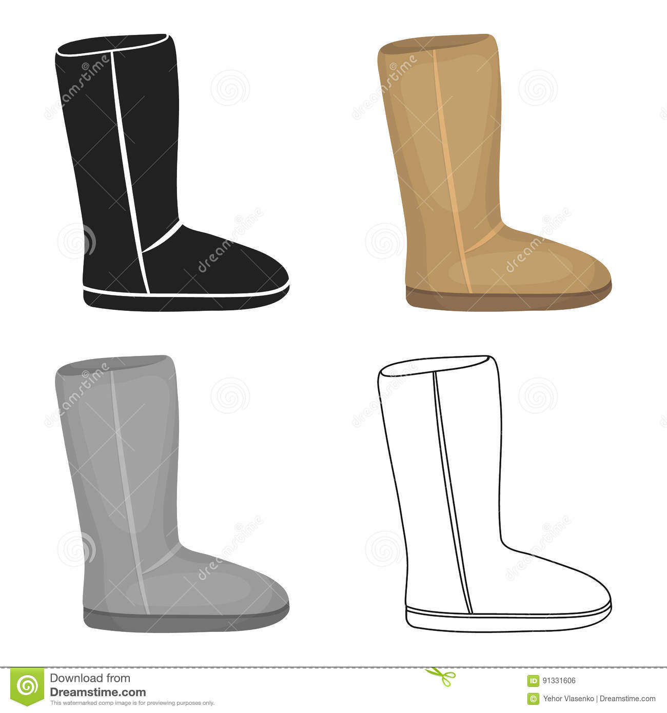 f97b4fca9df Ugg Boots Icon In Cartoon Style Isolated On White Background. Shoes ...