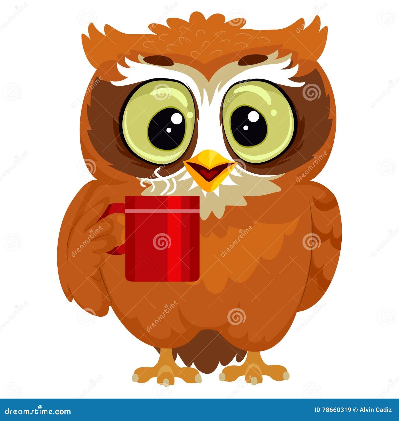 Uggla som dricker en kopp kaffe