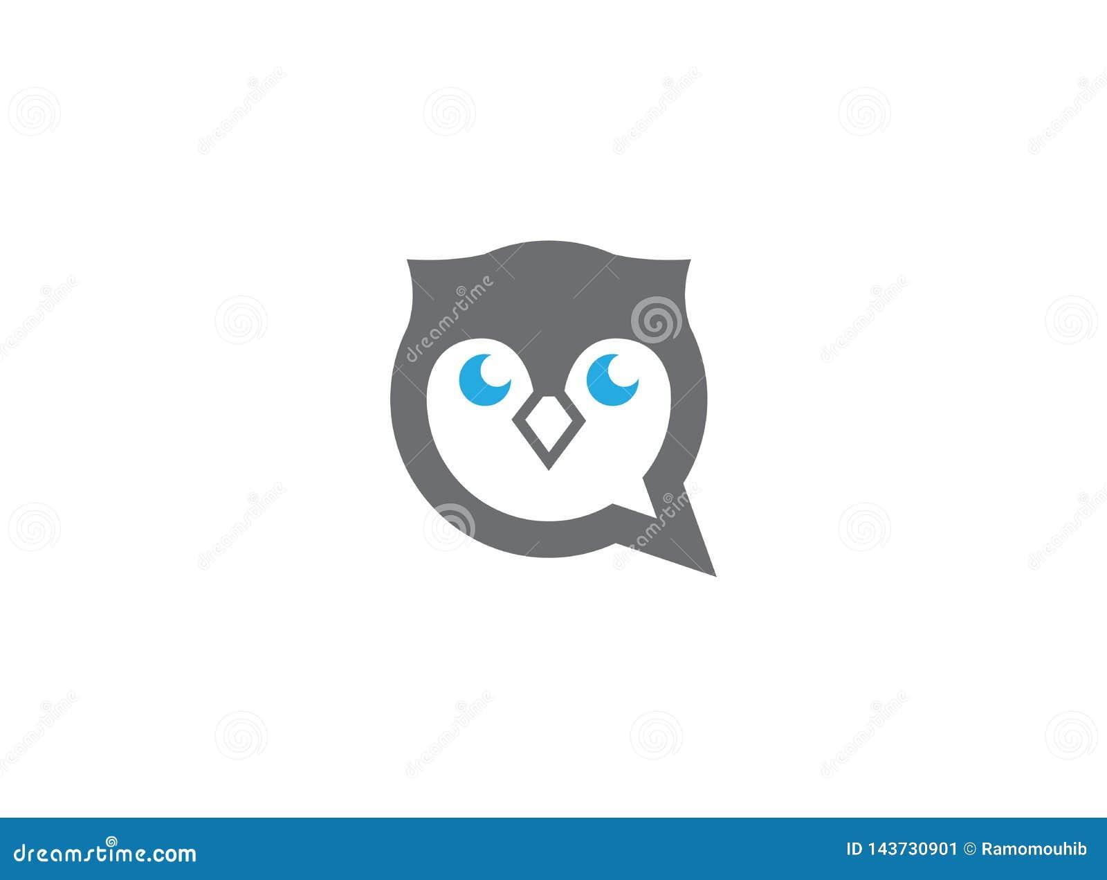 Ugglahuvud och framsida i en pratstundsymbol för logodesign