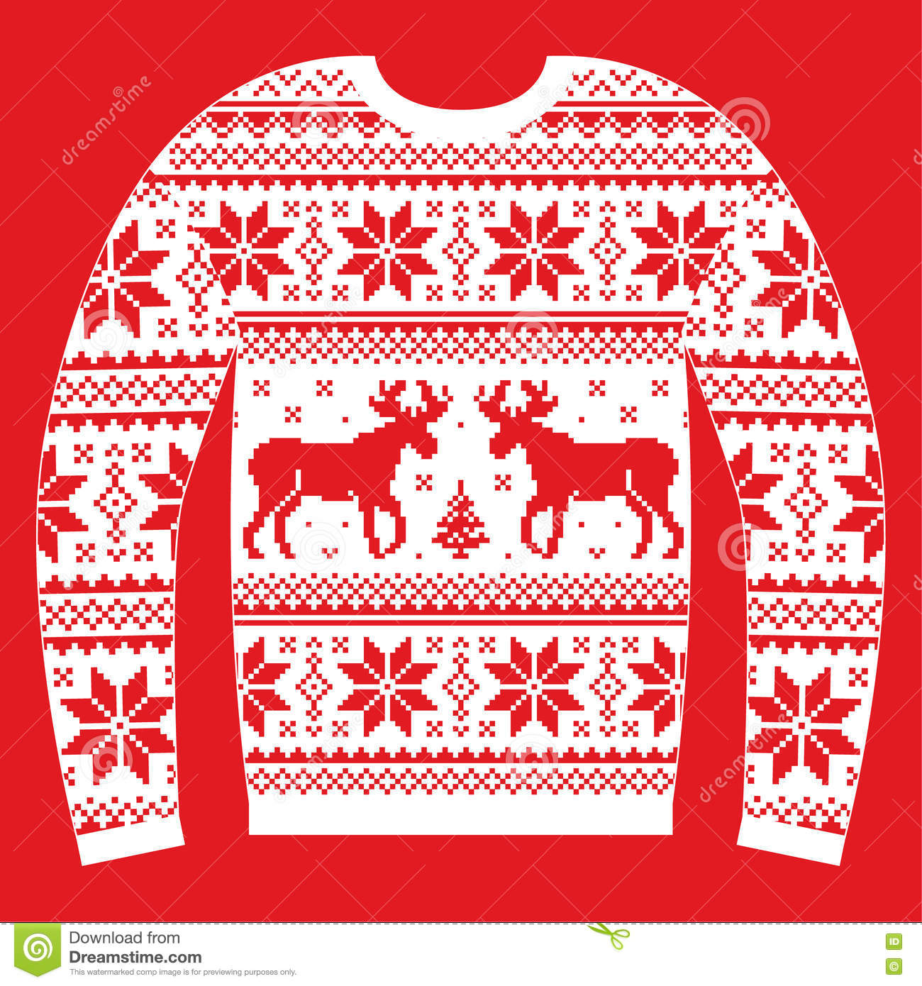 Ugly Christmas Jumper Or Sweater With Reindeer And ...