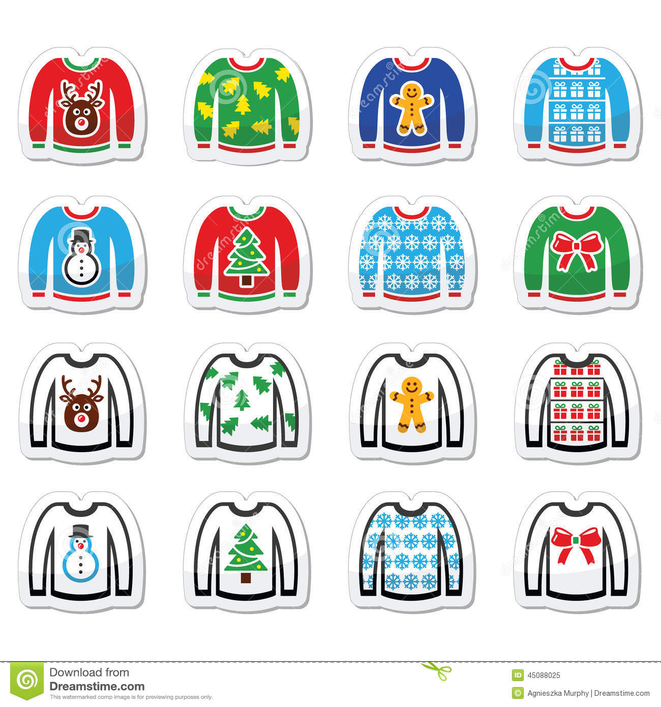 Download Ugly Christmas Sweater On Jumper Icons Set Stock Vector - Illustration of icon, merry: 45088025