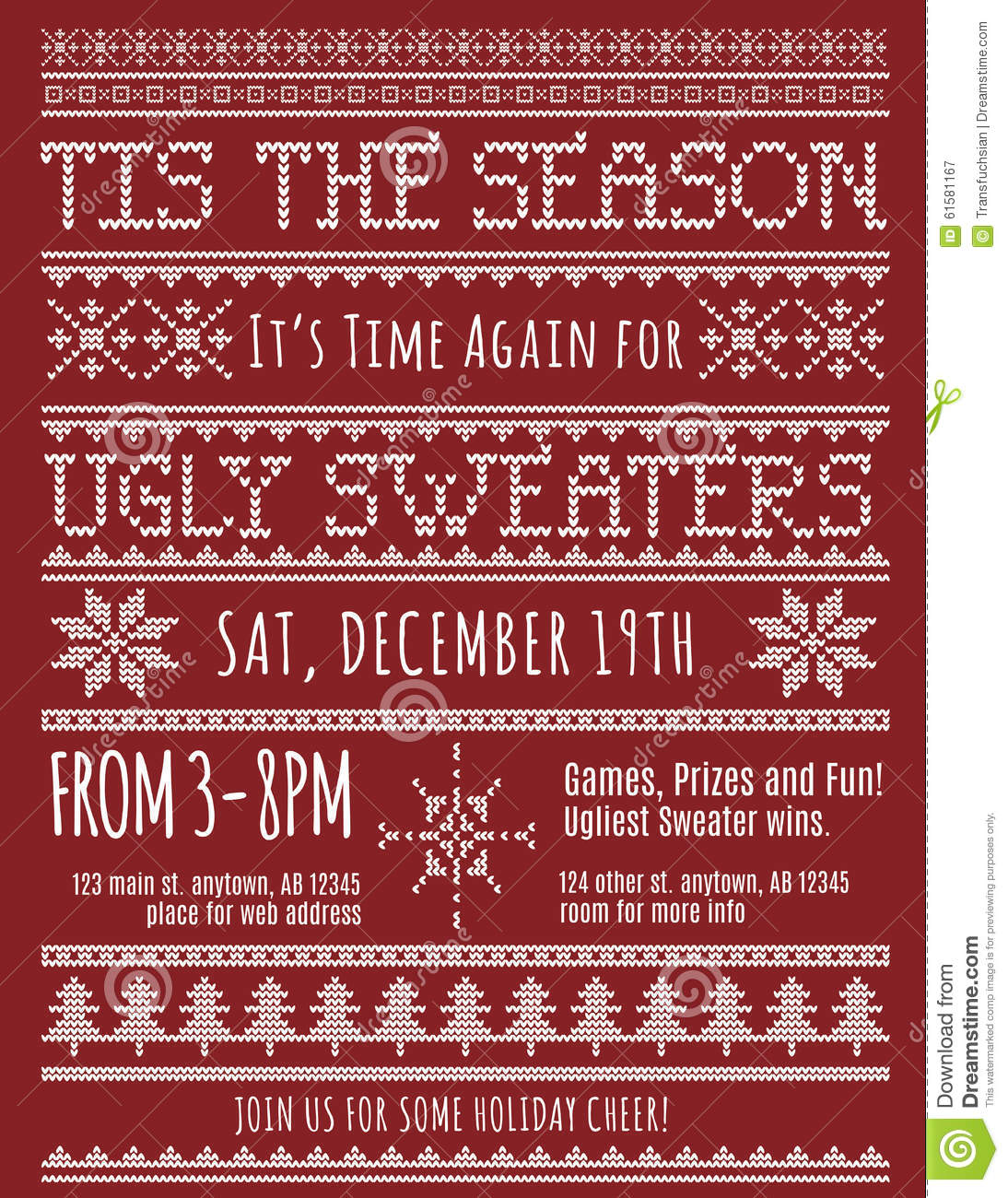 Ugly Christmas Sweater Party Invitation Stock Vector - Image: 61581167