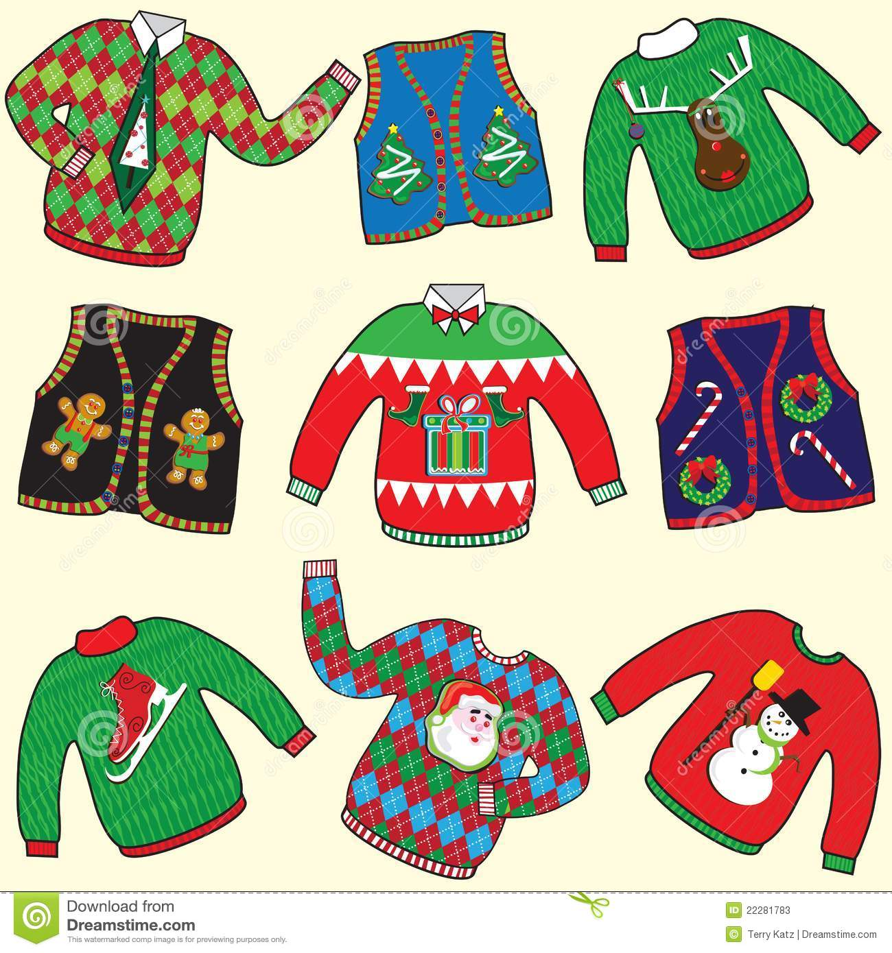 f170dc775 Dare to wear ugly Christmas sweaters and vests clipart. Designers Also  Selected These Stock Illustrations