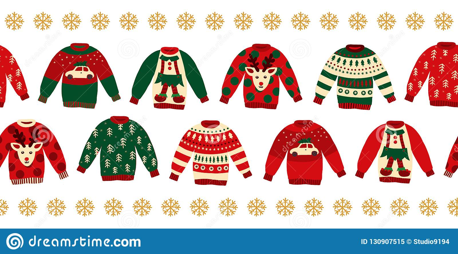 Ugly Christmas Sweaters Seamless Vector Border Stock Vector ...