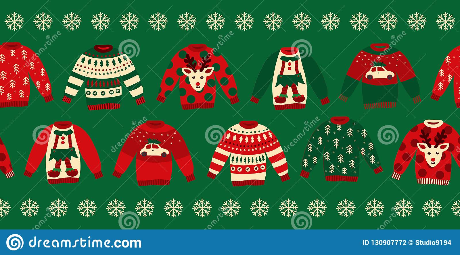 Ugly Christmas Sweaters Seamless Vector Border Stock Vector