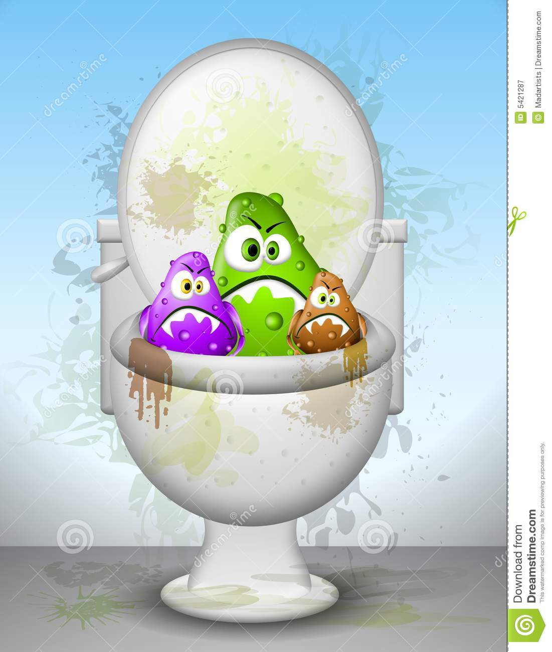 Ugly Dirty Toilet Bowl Germs Royalty Free Stock Photography Image