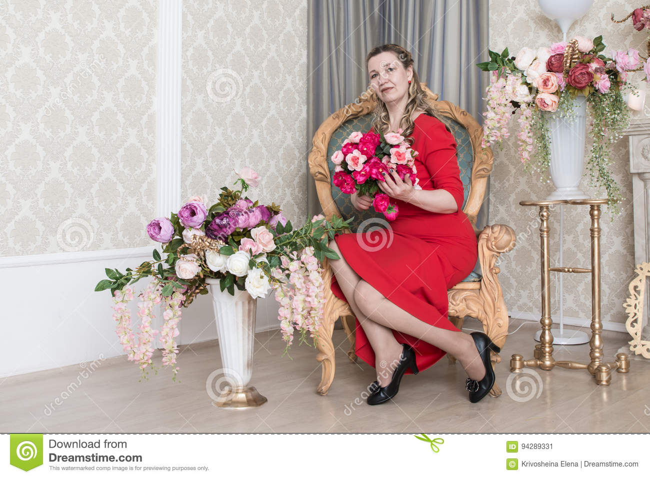 f5b6b1197 Ugly Domineering Woman Is Posing In Red Dress Stock Image - Image of ...
