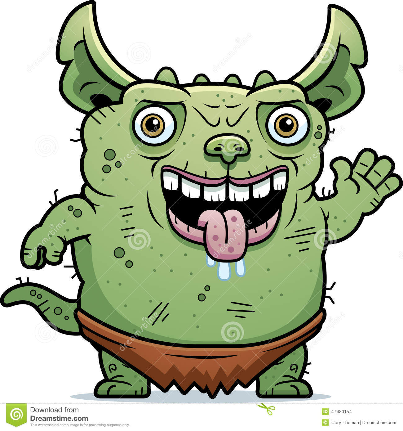 ugly gremlin waving stock vector image 47480154 troll clipart black and white troll clipart border