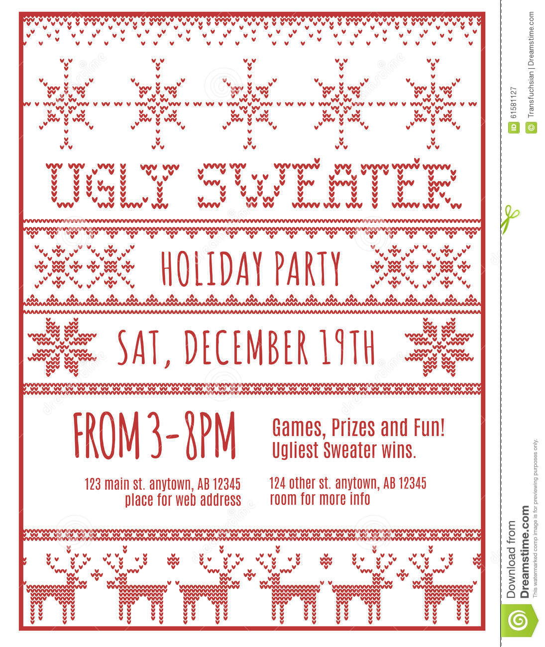 Ugly Holiday Sweater Party Invitation Stock Vector Illustration Of