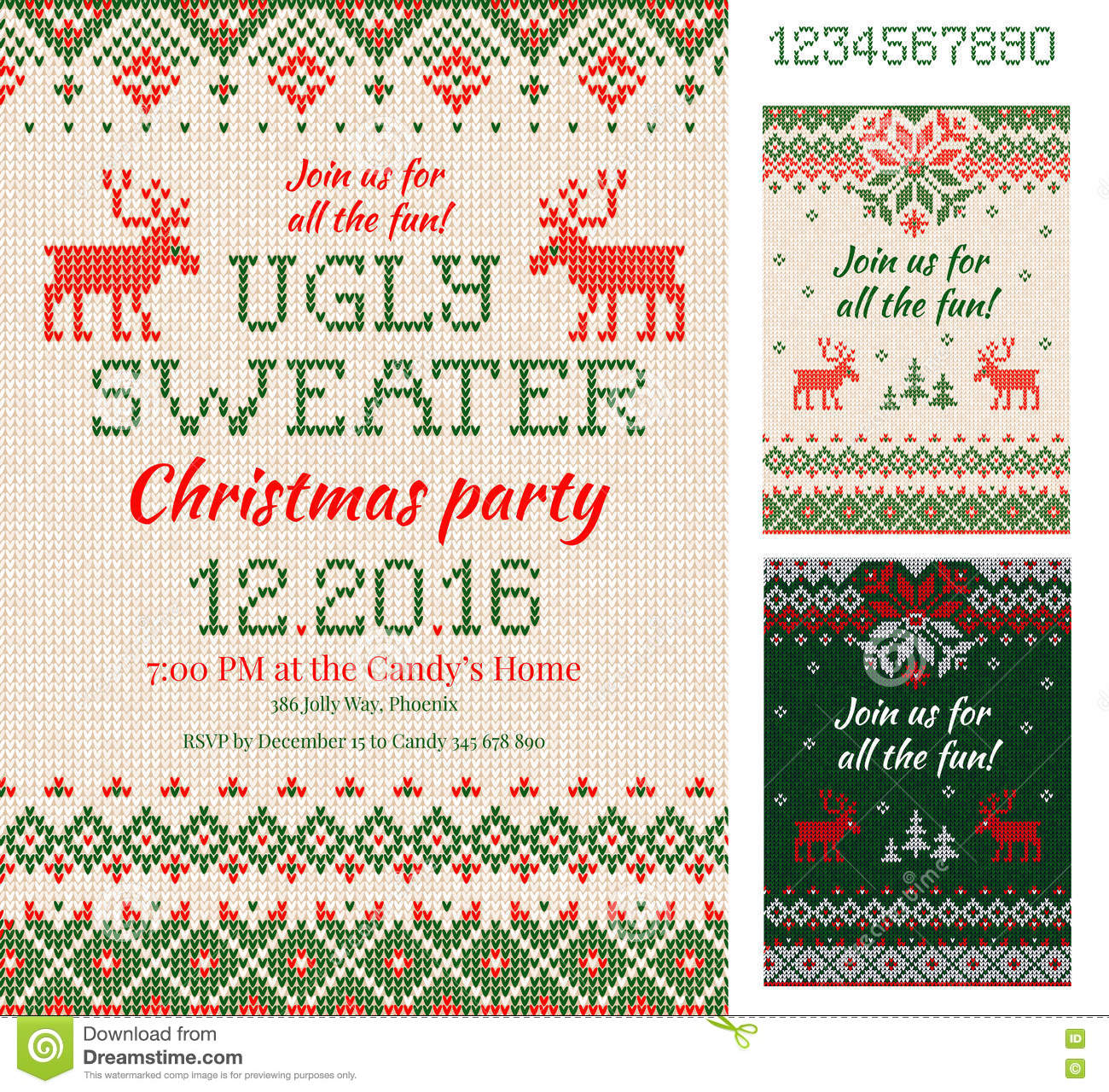 Ugly sweater christmas party cards knitted pattern scandinavia download ugly sweater christmas party cards knitted pattern scandinavia stock illustration illustration of m4hsunfo