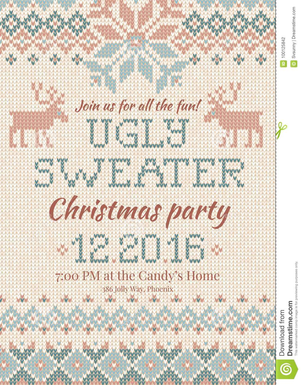Ugly Sweater Christmas Party Invite. Knitted Background Pattern ...