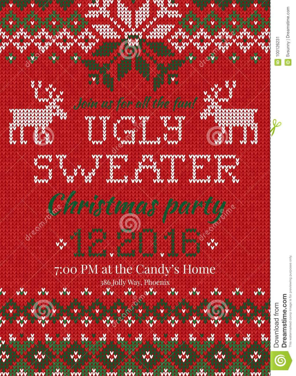 736e52c618a29 Ugly sweater Christmas party invite. Vector illustration Handmade knitted  background pattern with deers and snowflakes