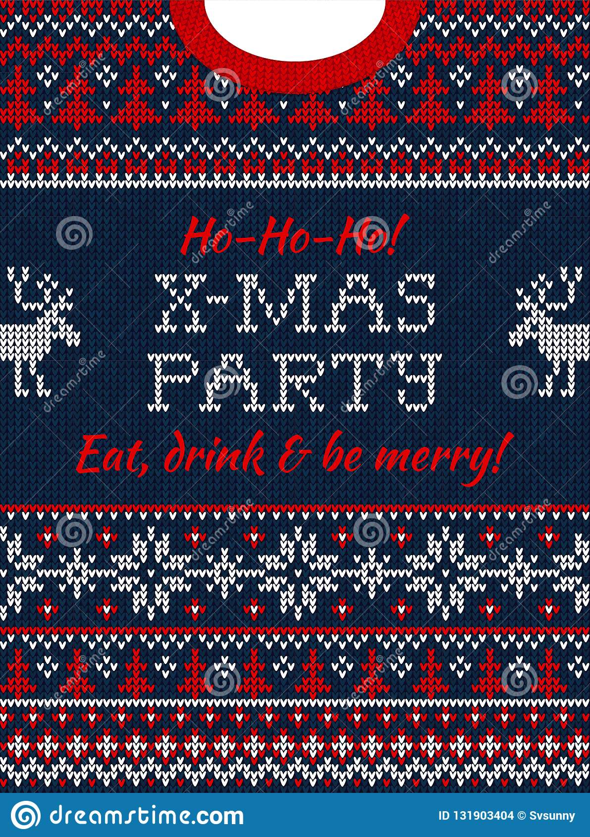 2b6487c041d57 Ugly sweater Christmas party invite. Knitted background pattern  scandinavian ornaments