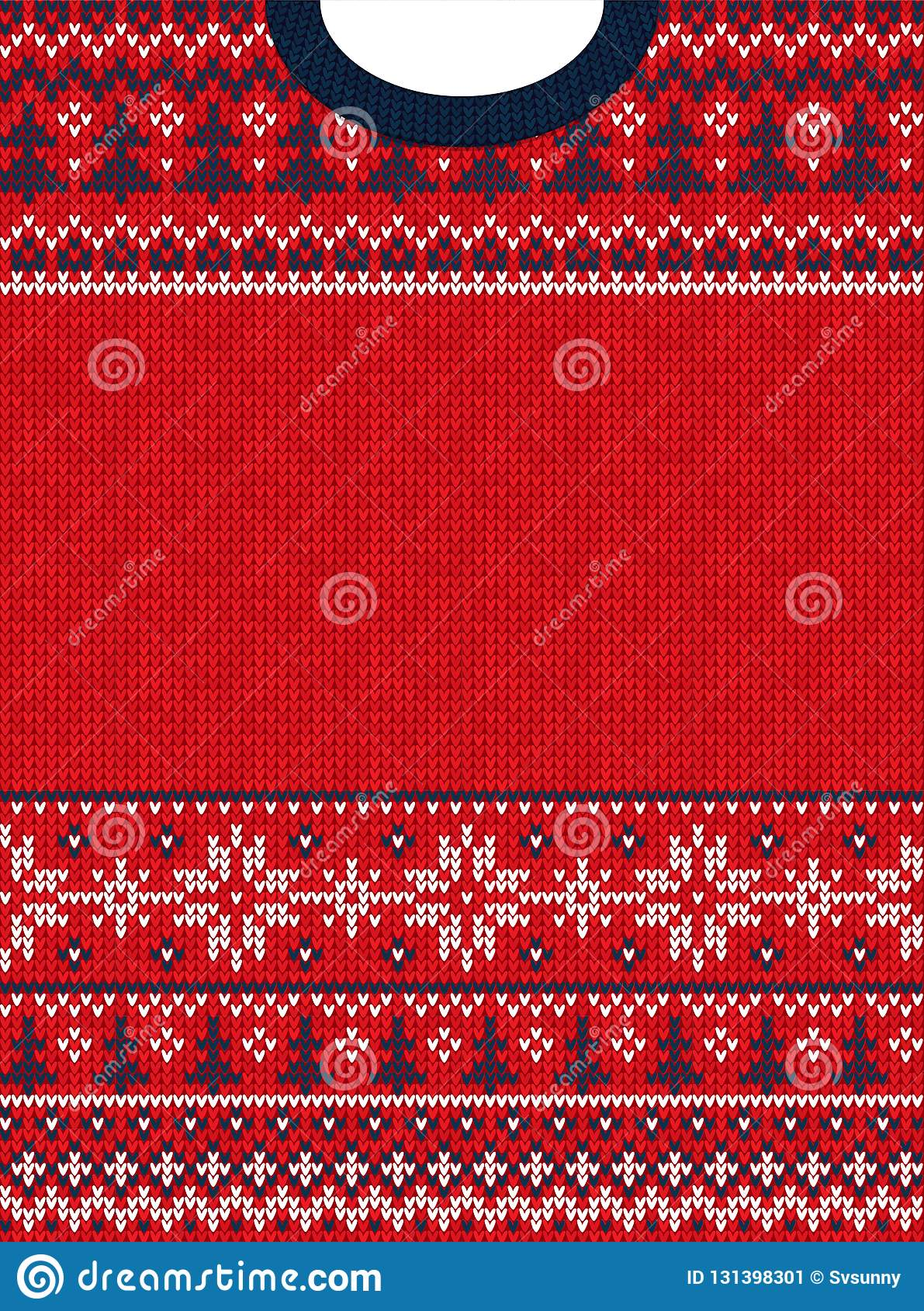 ugly sweater merry christmas and happy new year greeting card frame border vector illustration knitted