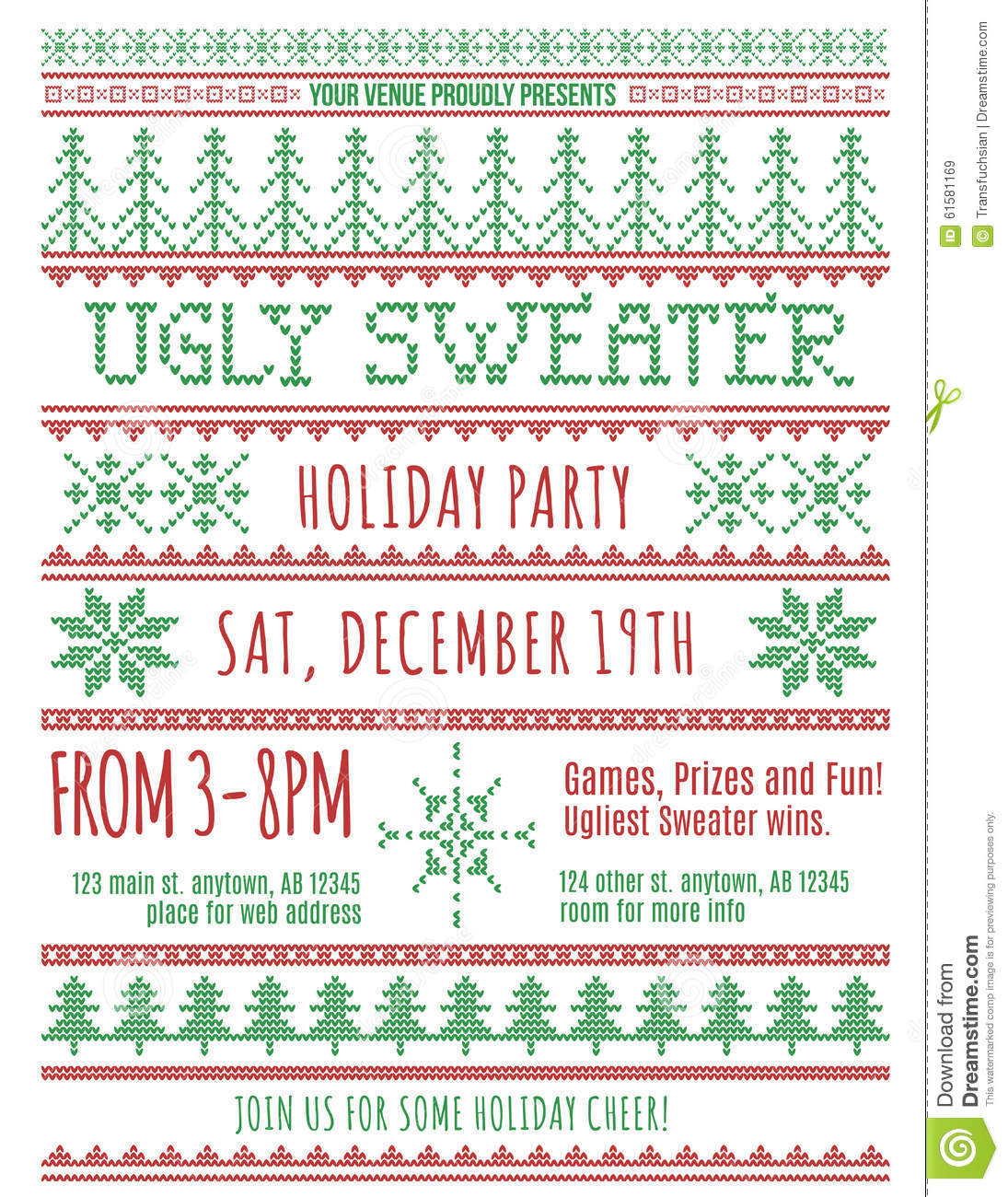 Ugly Sweater Party Invitation Stock Vector Illustration Of Layout