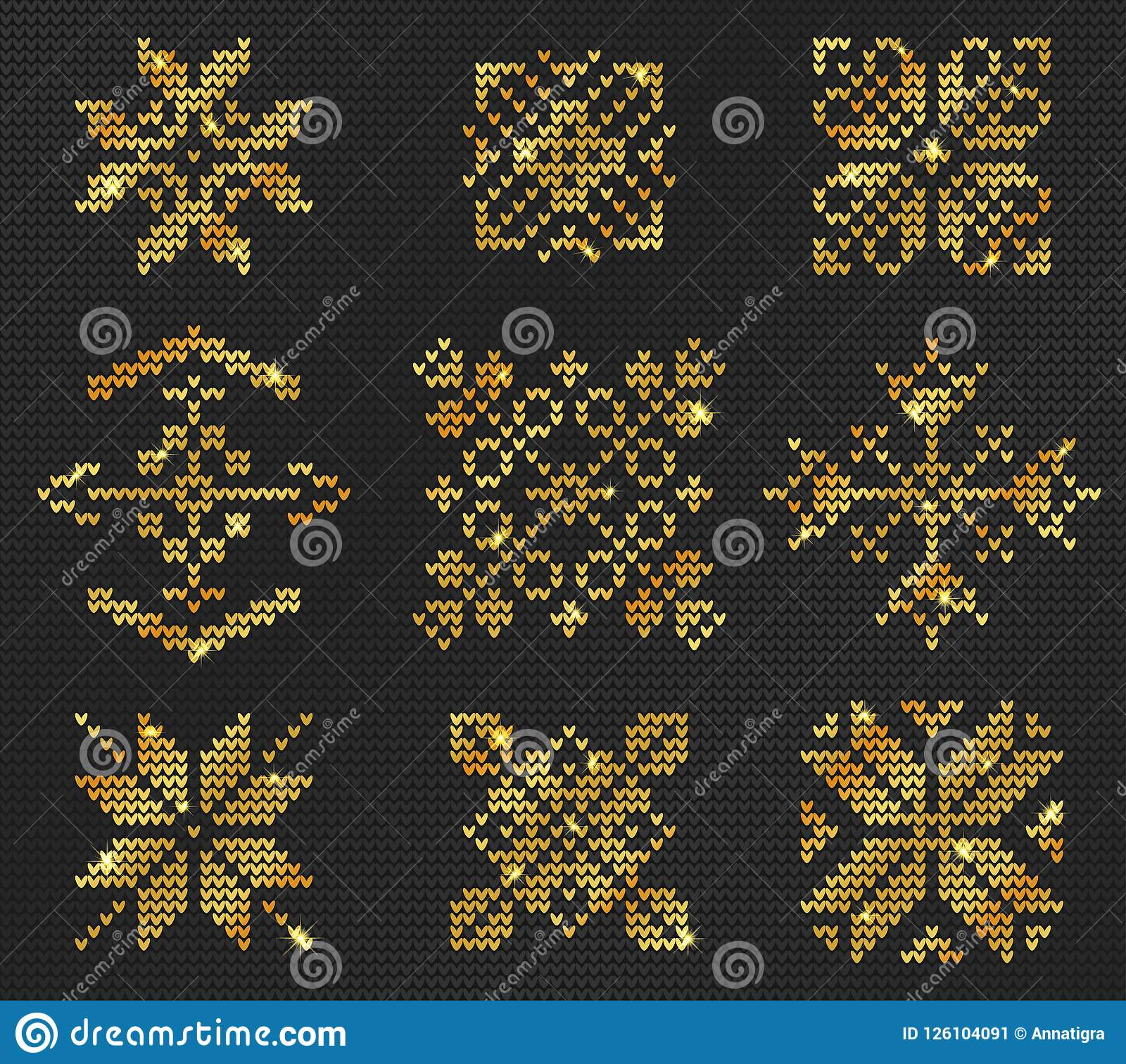 61389cf301ed Vector Illustration of Gold Ugly sweater seamless Pattern for Design