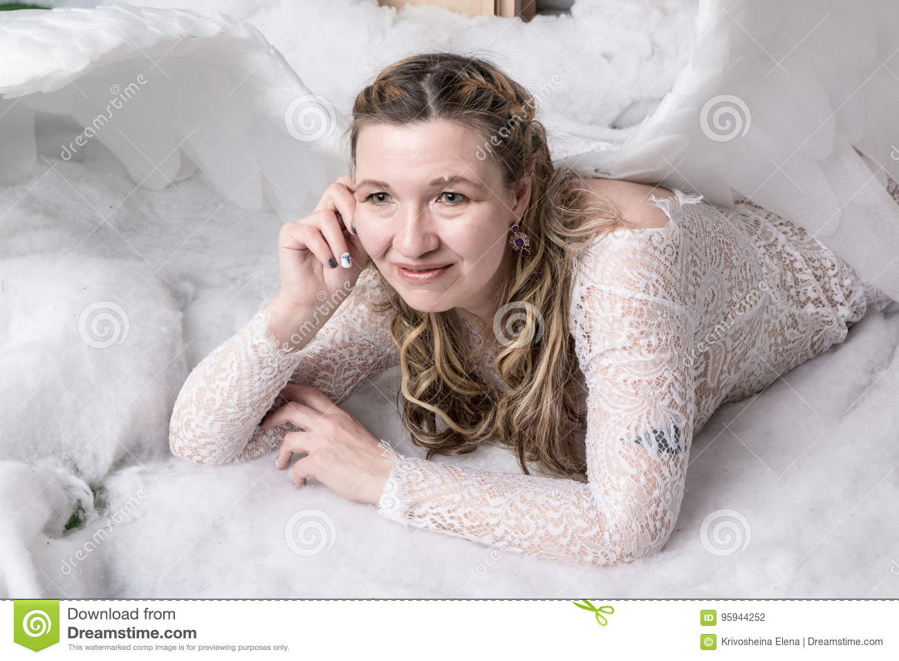 Ugly Woman In A White Dress With White Wings Stock Photo - Image Of Adult, Clothes -7279