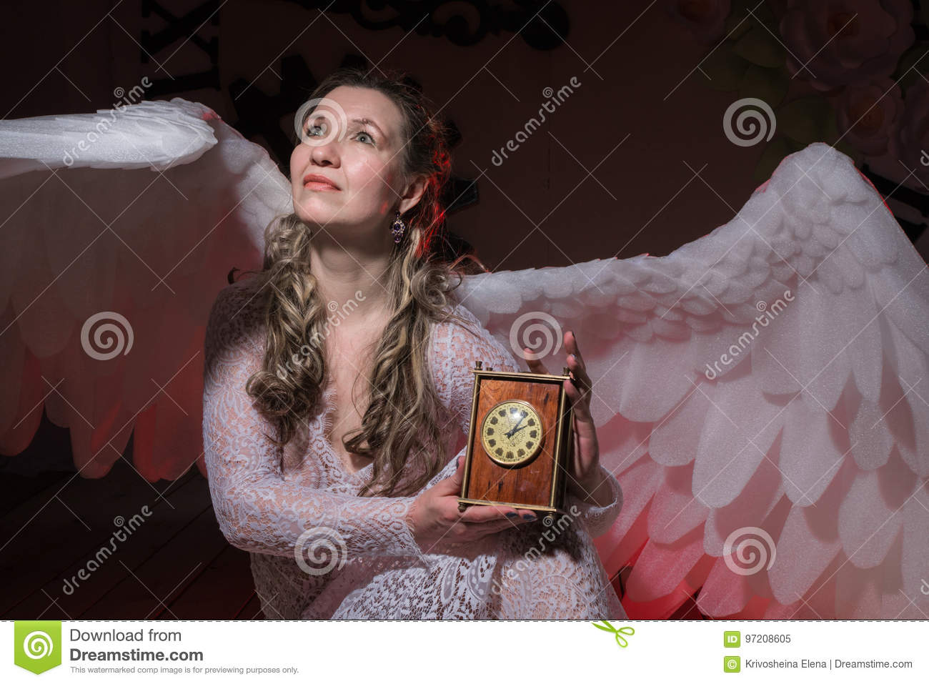 4394f581a Ugly Woman In A White Dress With White Wings Stock Image - Image of ...