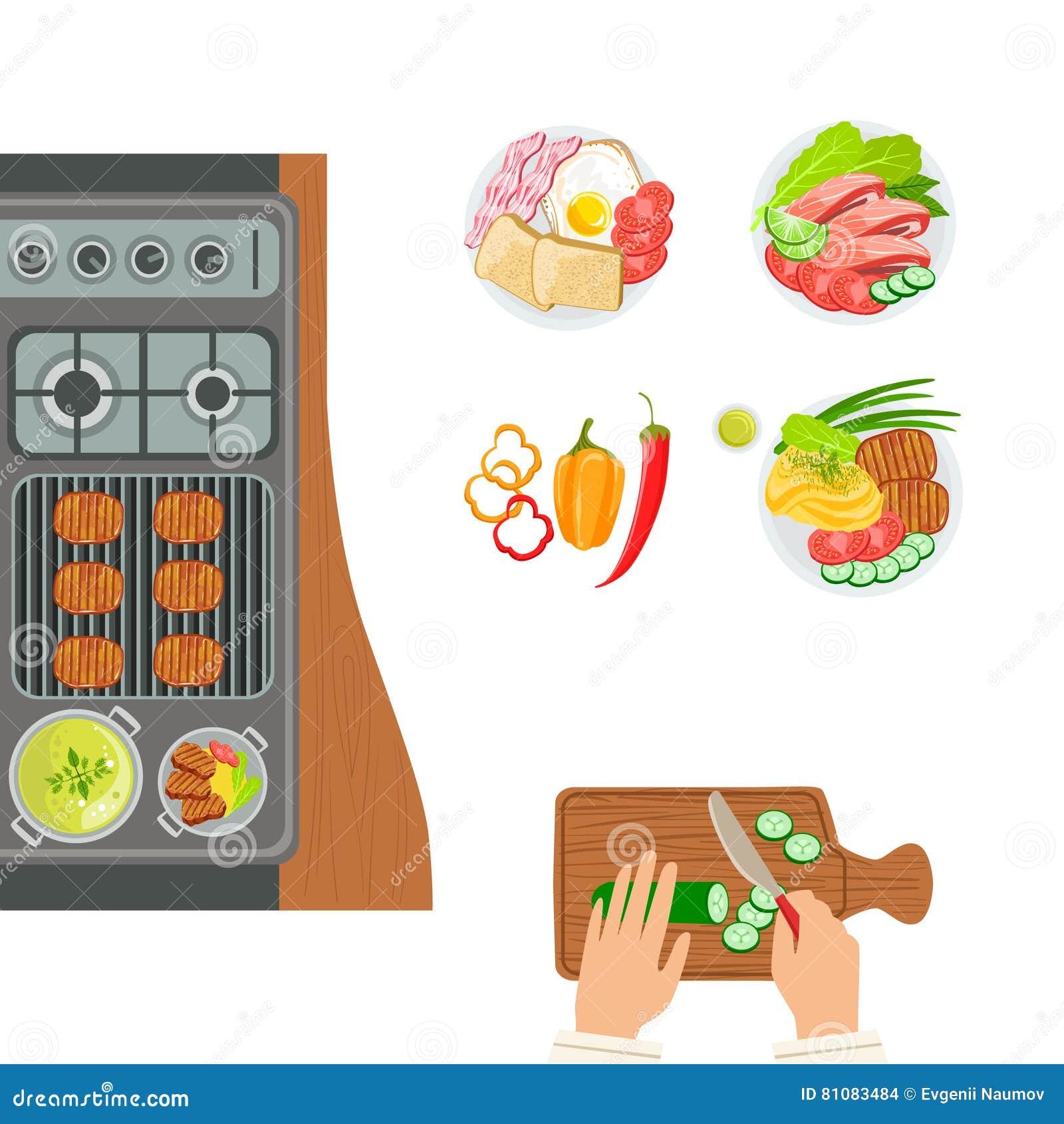 Ugn, lagad mat disk och händer av den kockCooking And Cutting gurkan Plats för förberedelse för mat för gallerkafékök