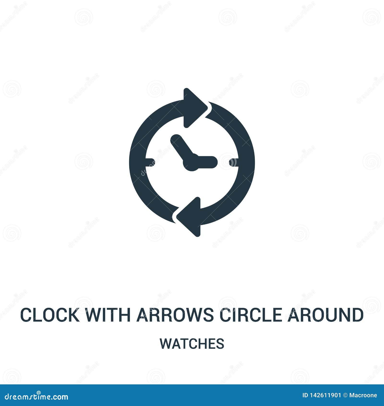 Uhr mit Pfeilen kreisen um Ikonenvektor von der Uhrsammlung ein Dünnes Streckentakt mit Pfeilen kreisen um Entwurfsikonenvektor e