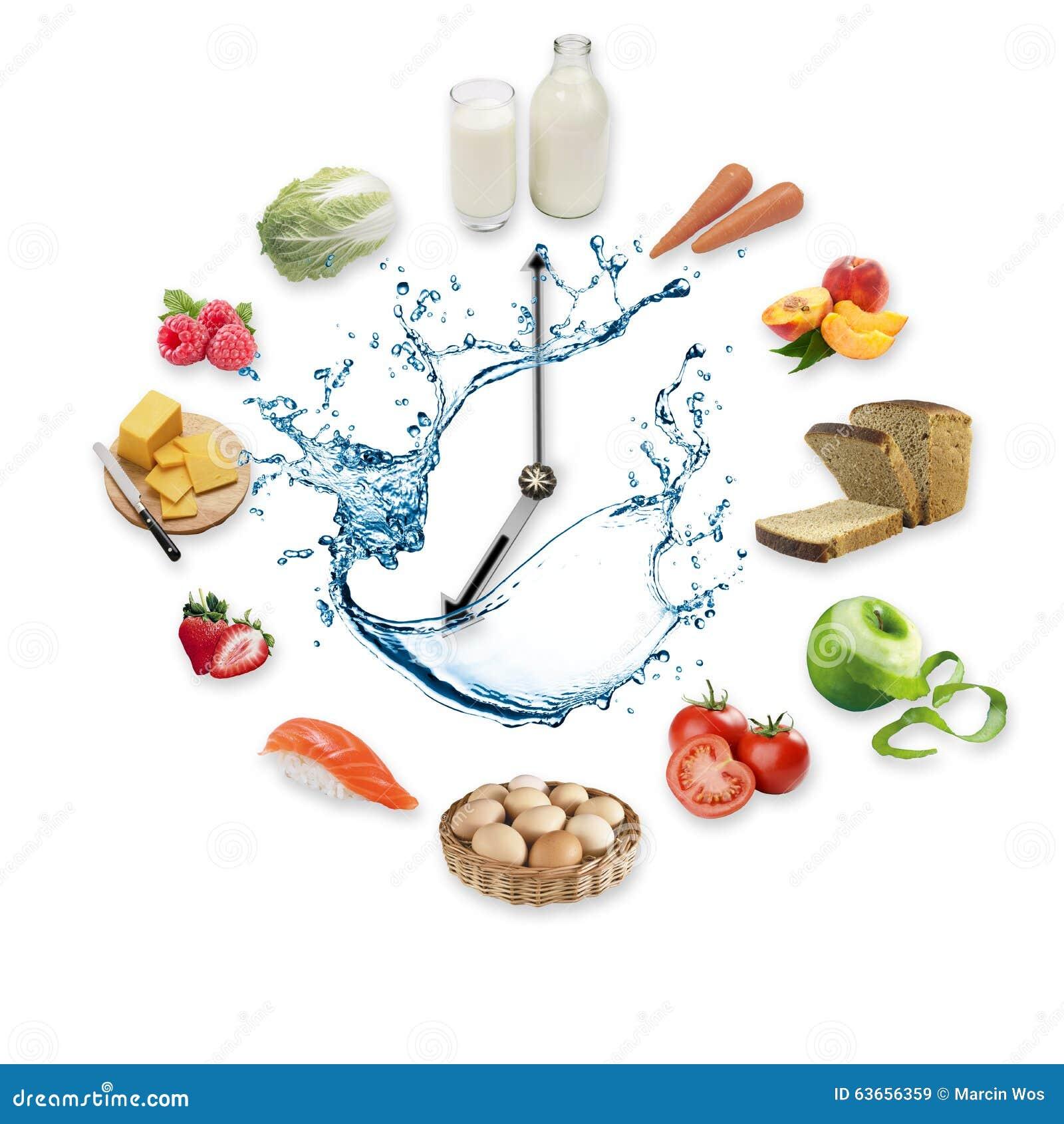 Uhr vereinbarte von den gesunden Nahrungsmitteln spritzen durch das Wasser, das auf weißem Hintergrund lokalisiert wurde Gesundes