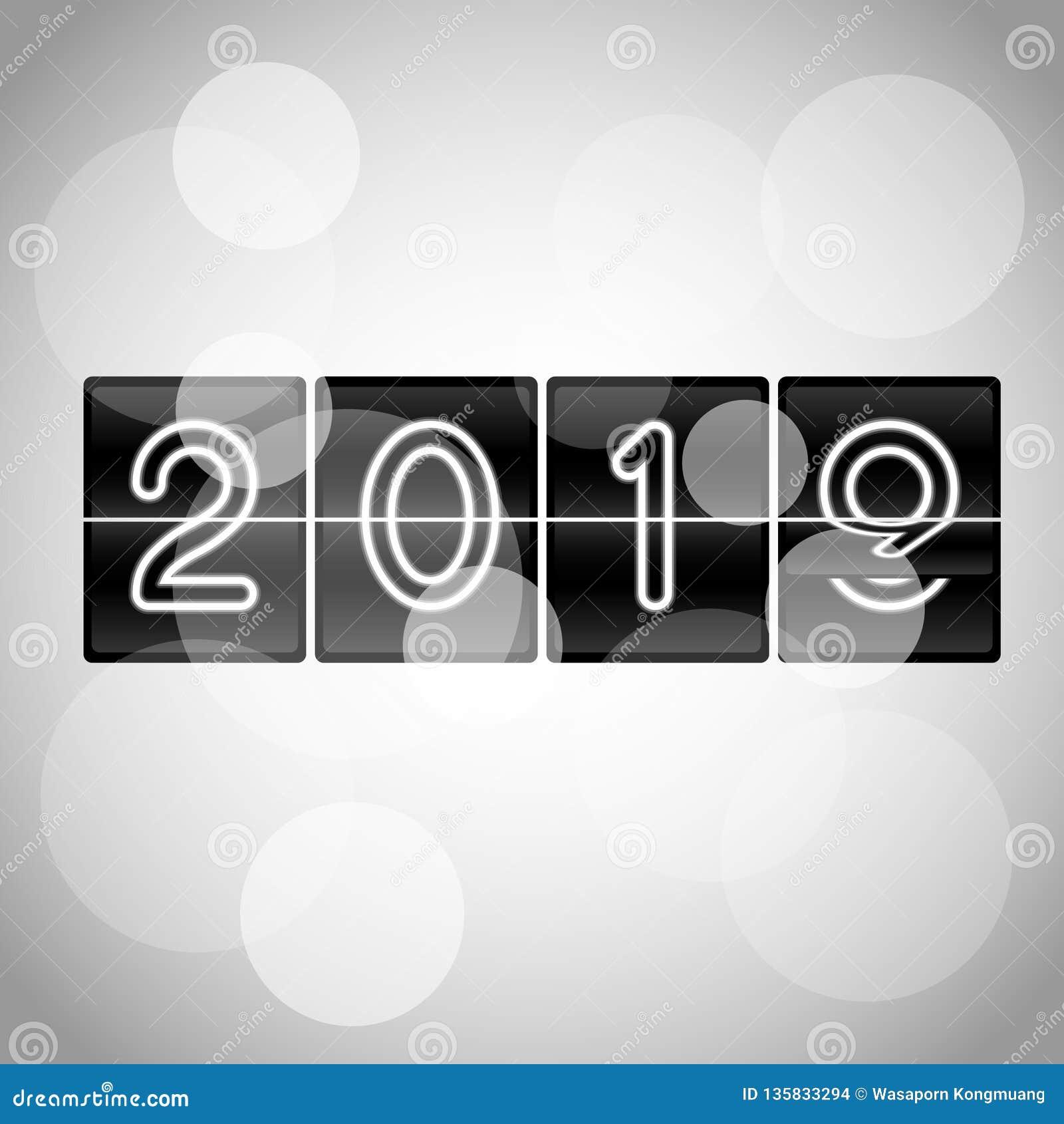 Uhrentwurf 2019 des leichten Schlages des guten Rutsch ins Neue Jahr-Vektors mechanischer bei dem leichten Schlag