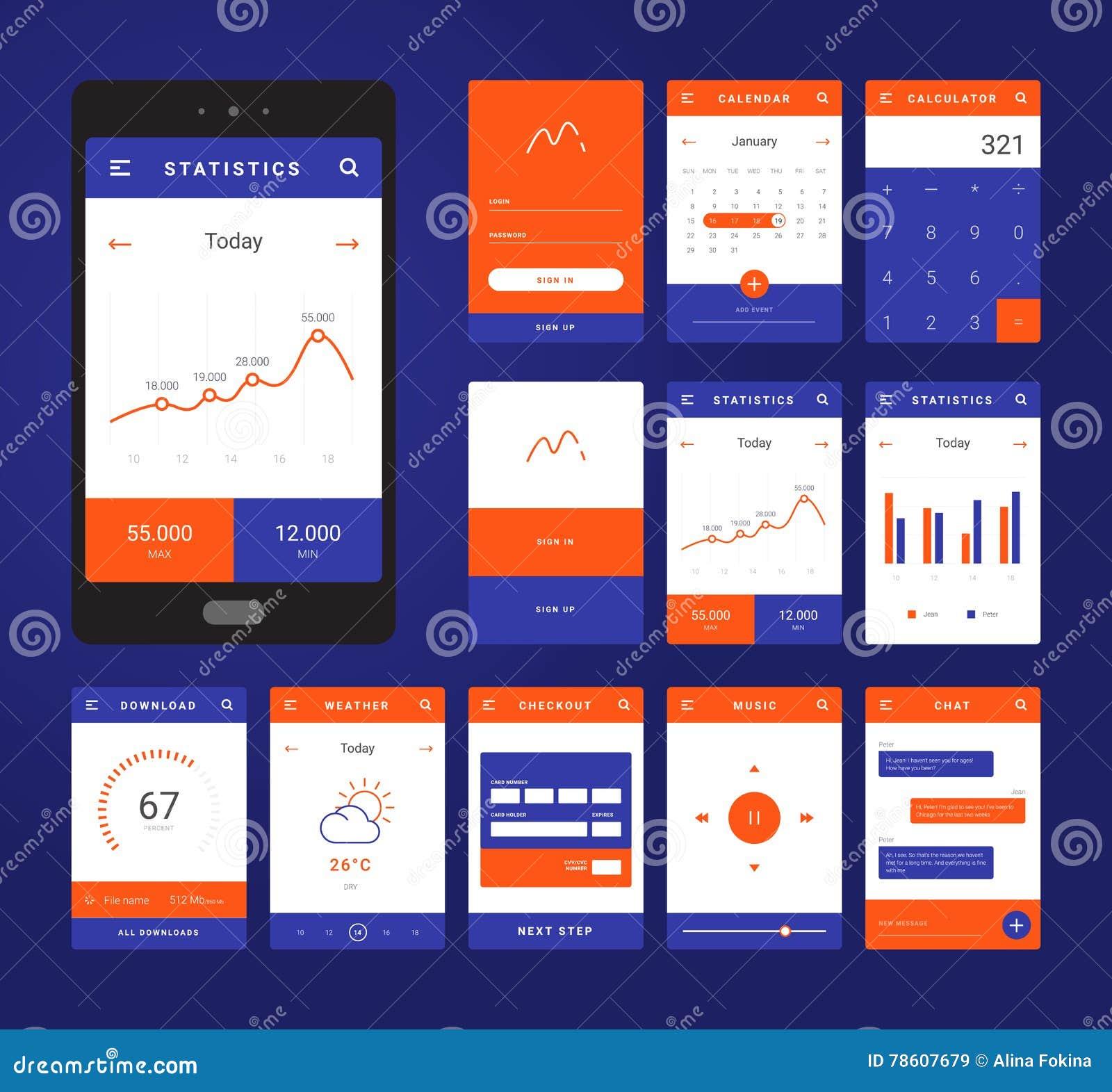 UI、UX和GUI流动阿普斯的模板布局 向量例证. 插画 包括有 背包, 控制板, 横幅提供资金的, 音乐