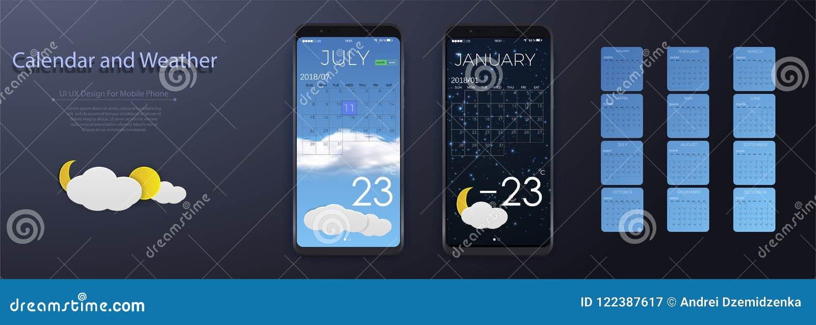 UI-beståndsdelar, väder och begrepp för kalenderapplikationanvändargränssnitt Kalender 2018