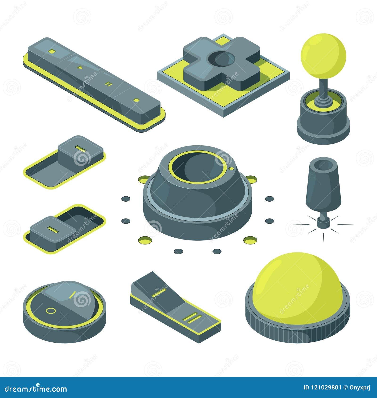 UI 3D guziki Isometric obrazki różnorodni guziki