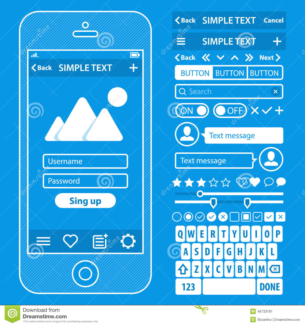 Ui elements blueprint design vector kit in trendy stock for Web design blueprints