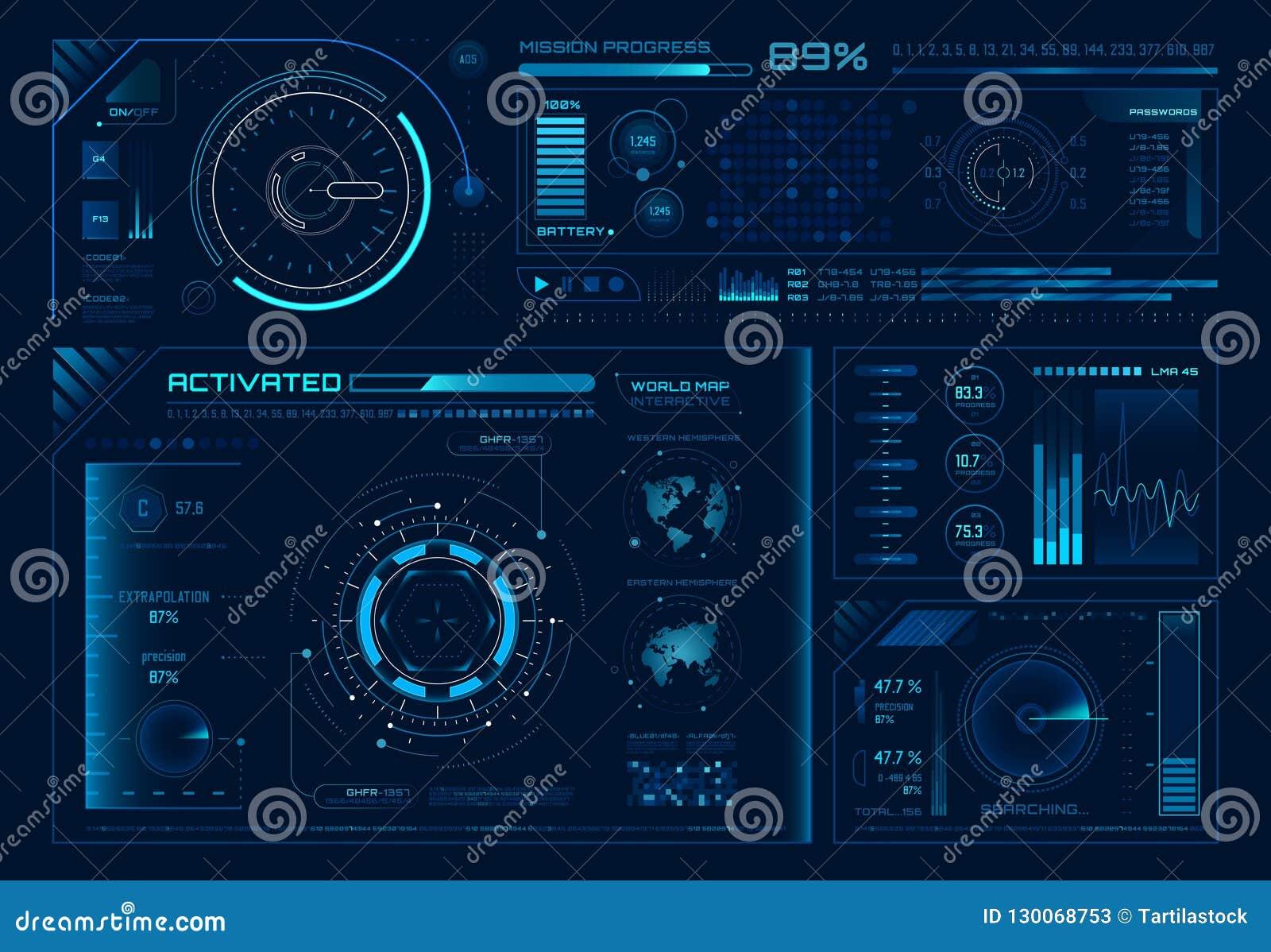 Ui futuriste d hologramme Interfaces de hud de la Science, cadres d interface de graphique et régulateurs de technologie ou éléme