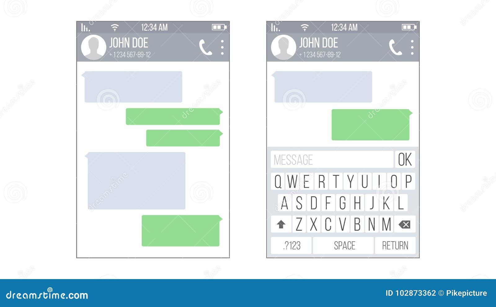 UI Móvil Kit Messenger Vector Plantilla Del Diseño Del App De La ...