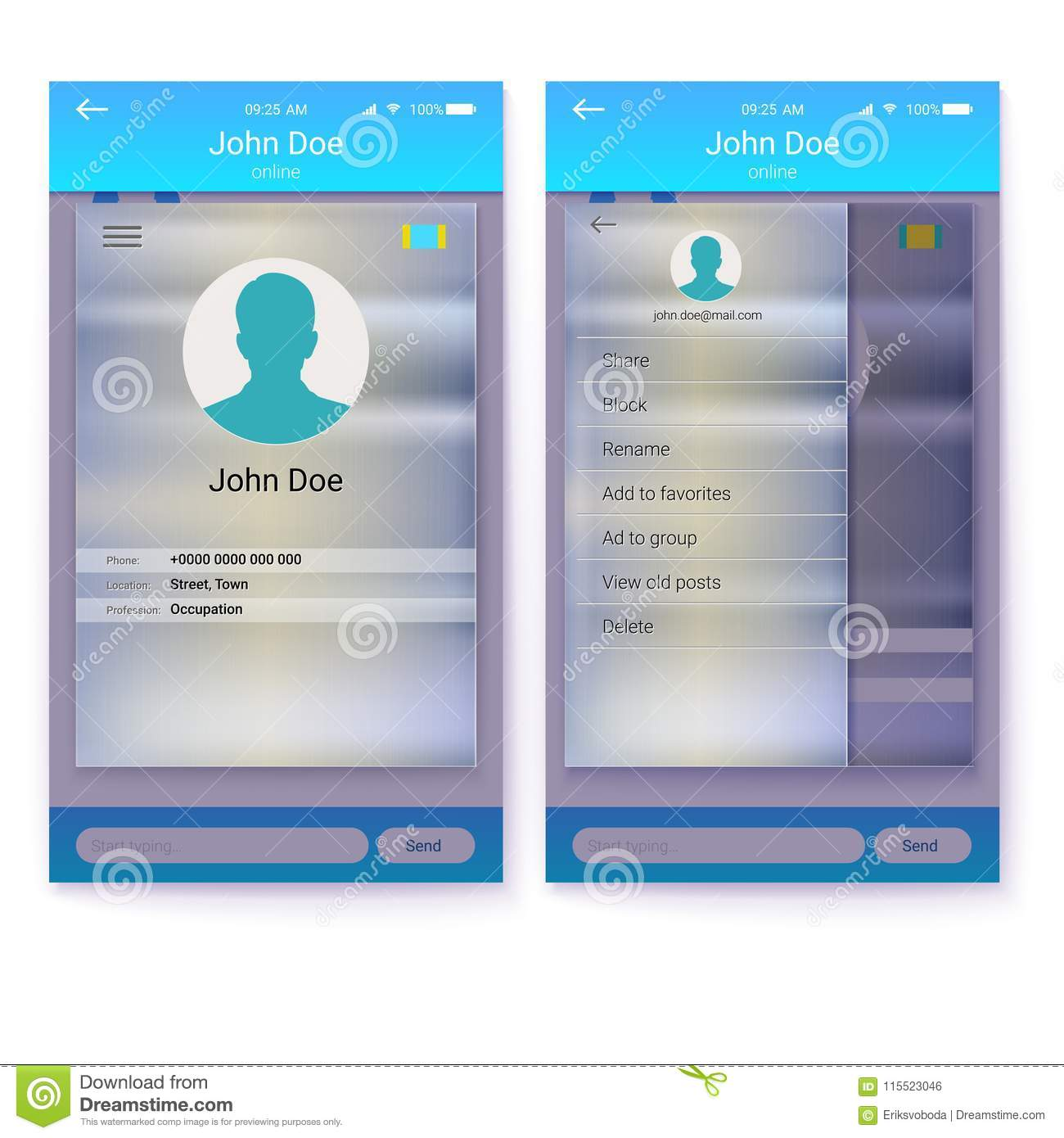 UI Of Mobile App  Page Profile And Sidebar Menu Screen  Interface Of