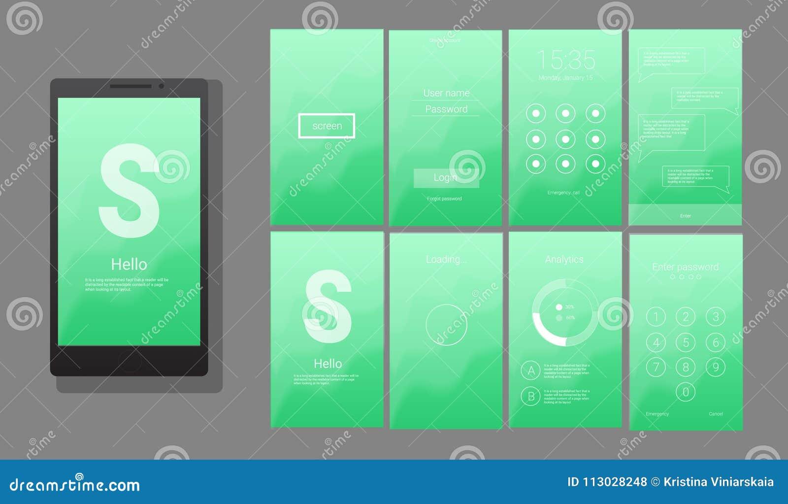 UI moderno, diseño del vector de la pantalla del GUI