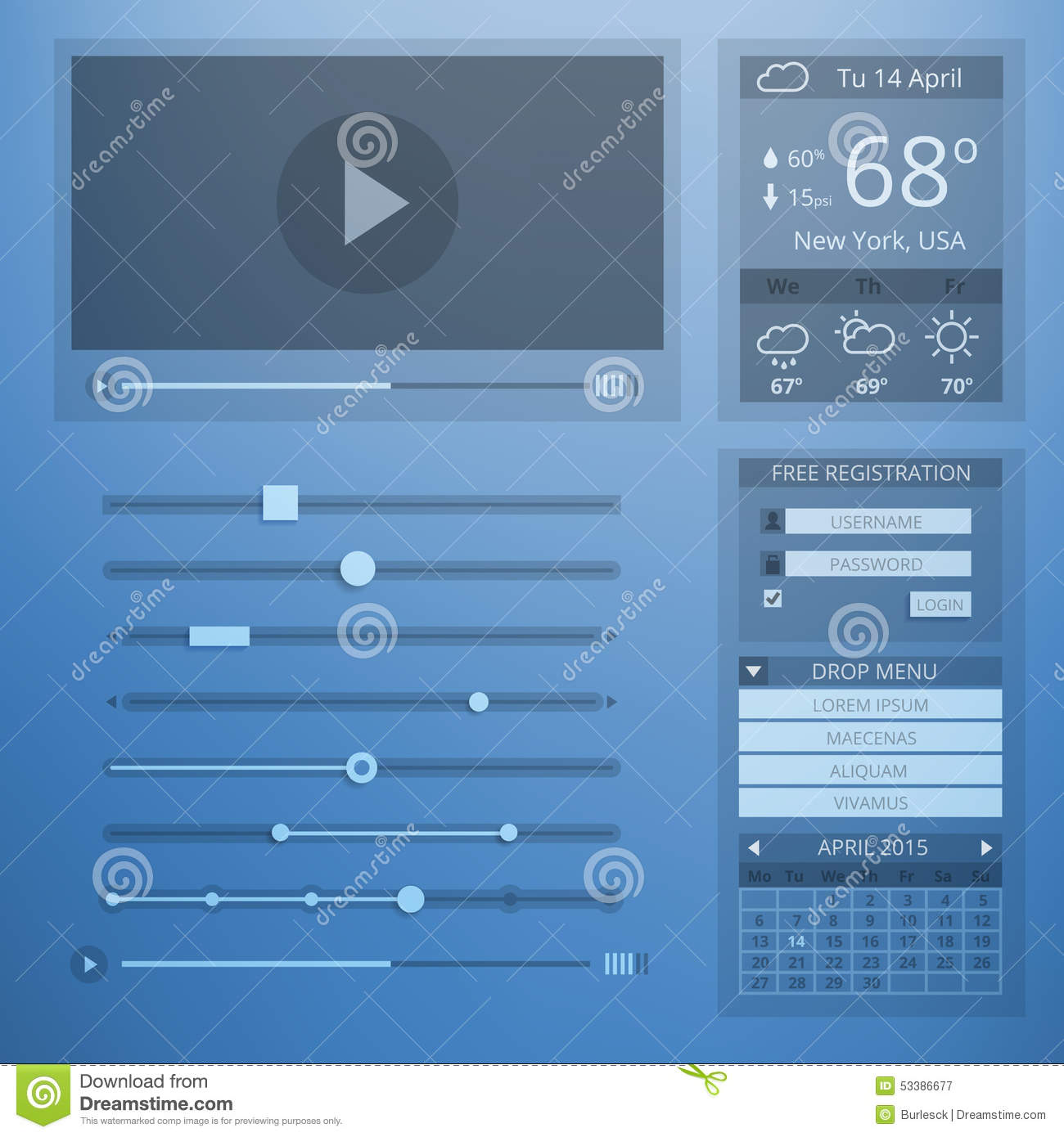 UI Transparency Flat Design Of Web Elements Stock Vector