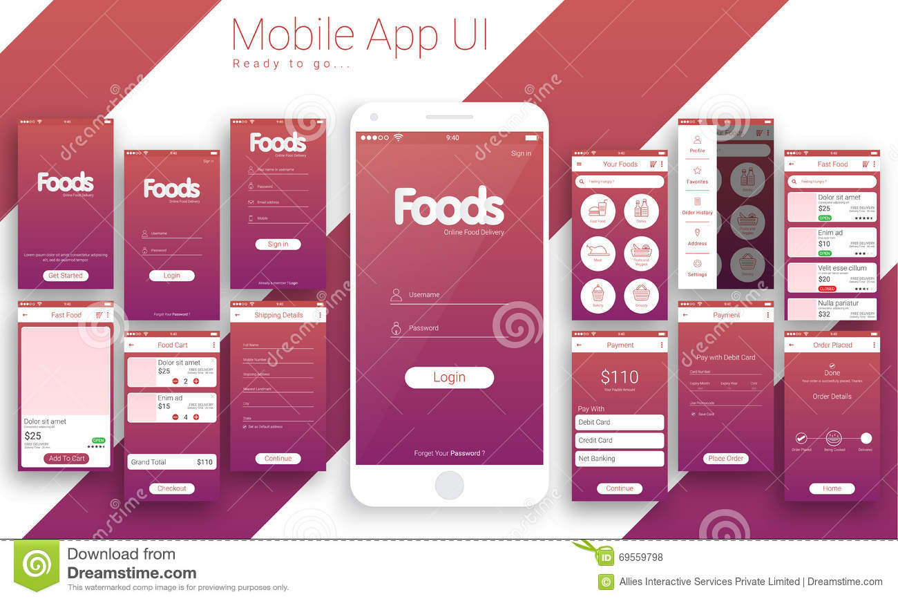 Ui ux and gui for online food delivery mobile app stock
