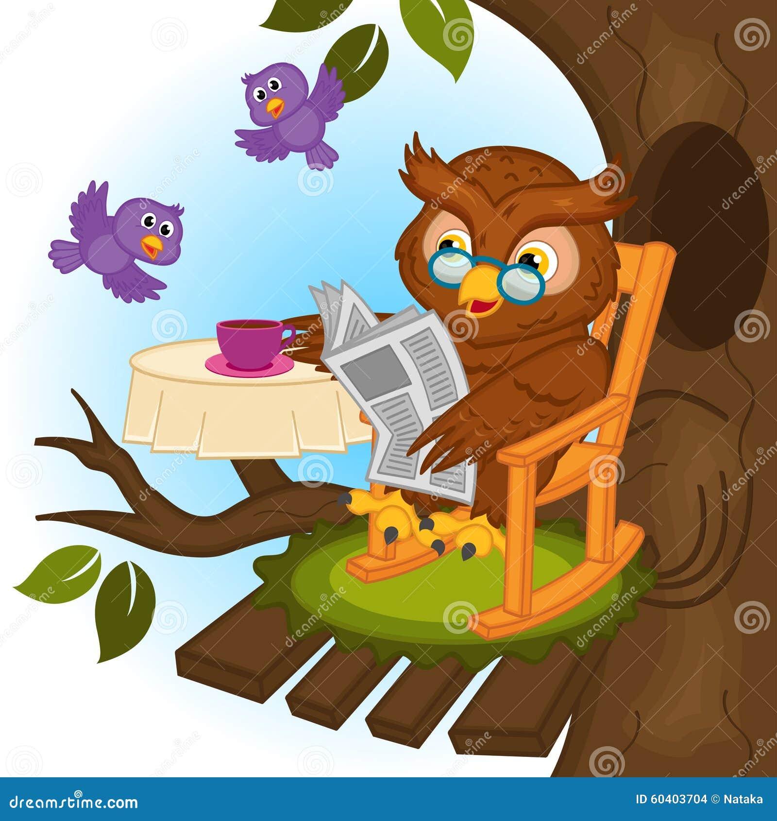 Uil het drinken thee en het lezen van een krant