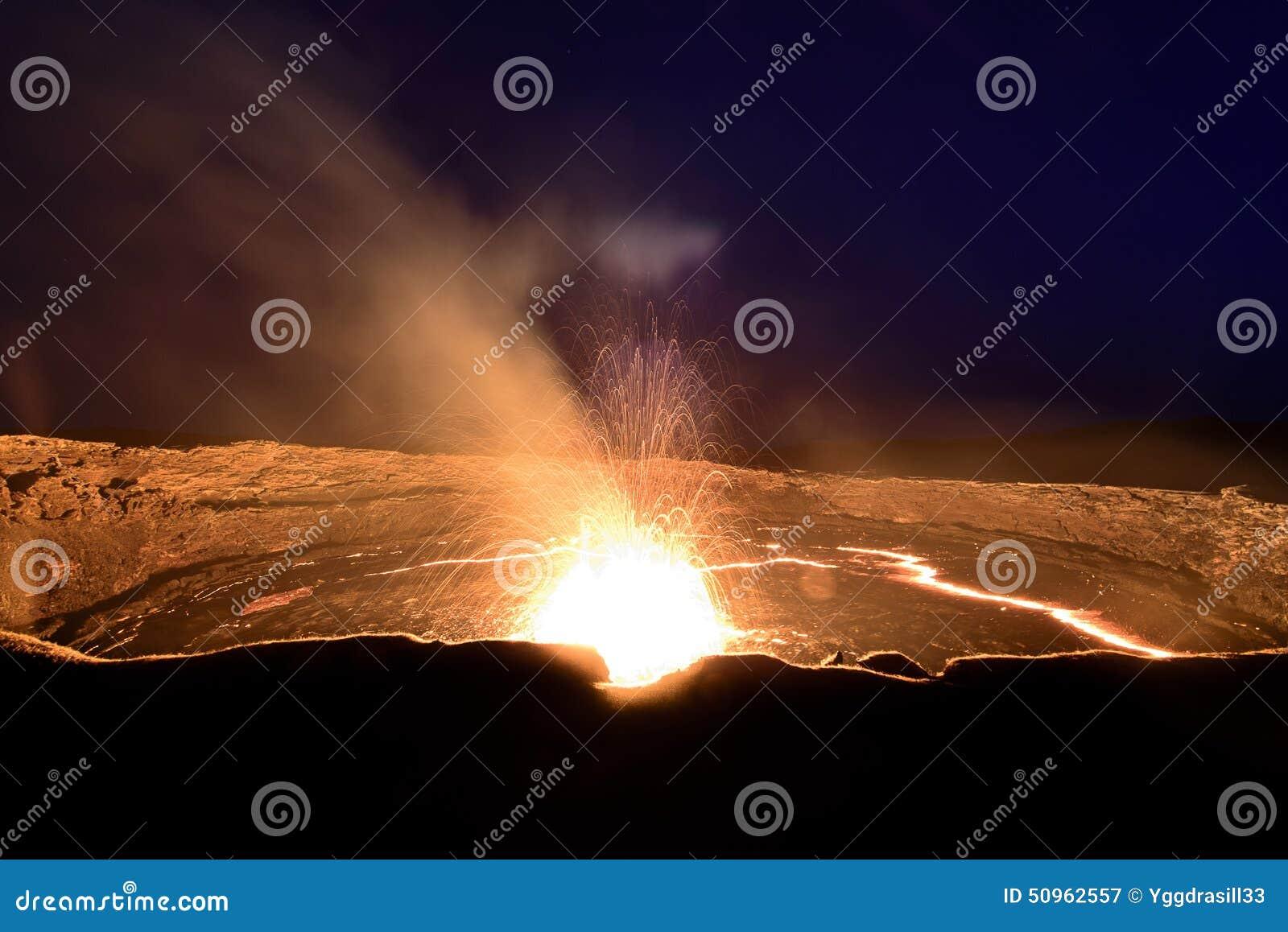 Uitbarsting bij het lavameer van het Erta-Aal