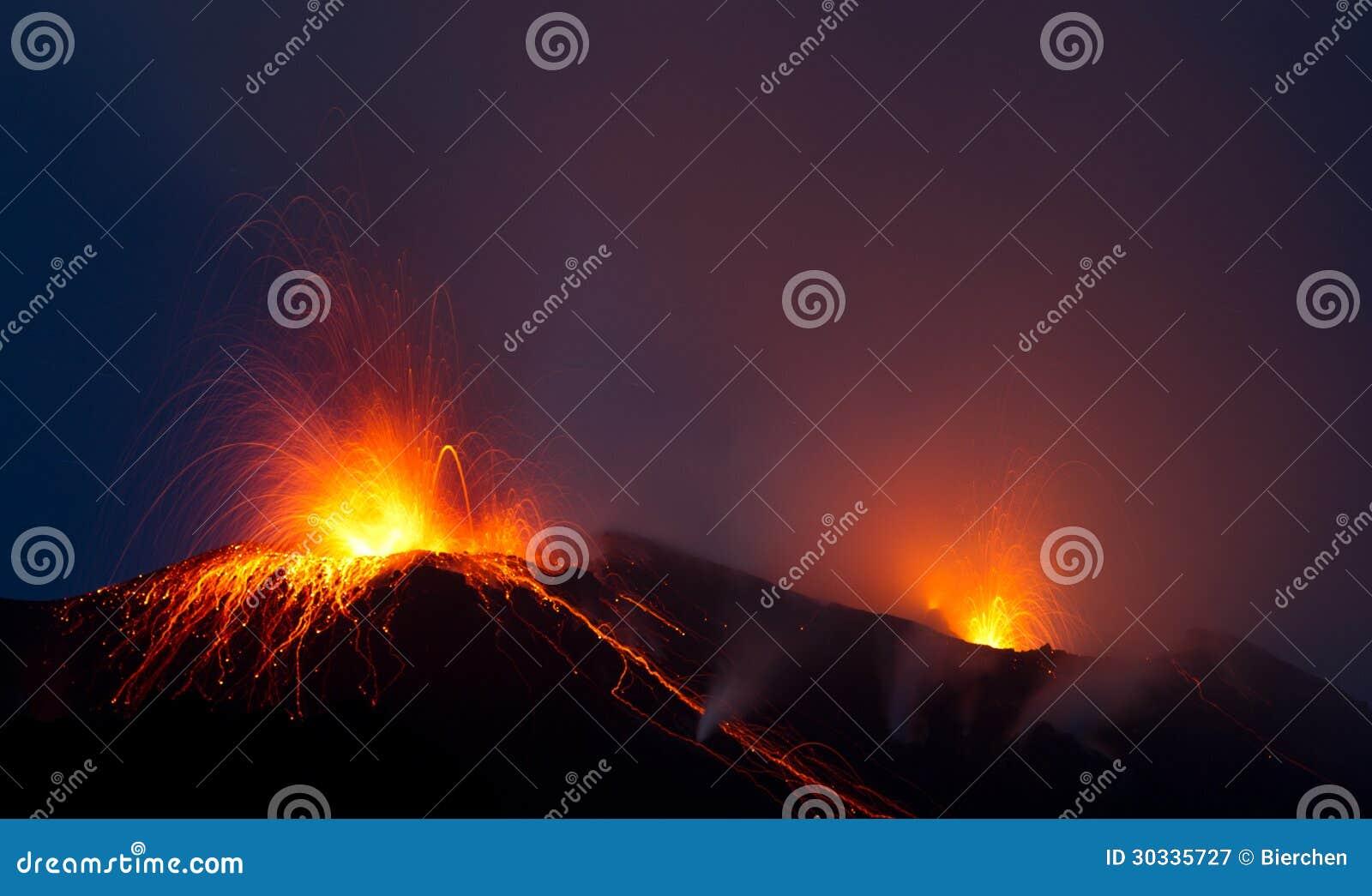 Uitbarsting van actieve vulkaan