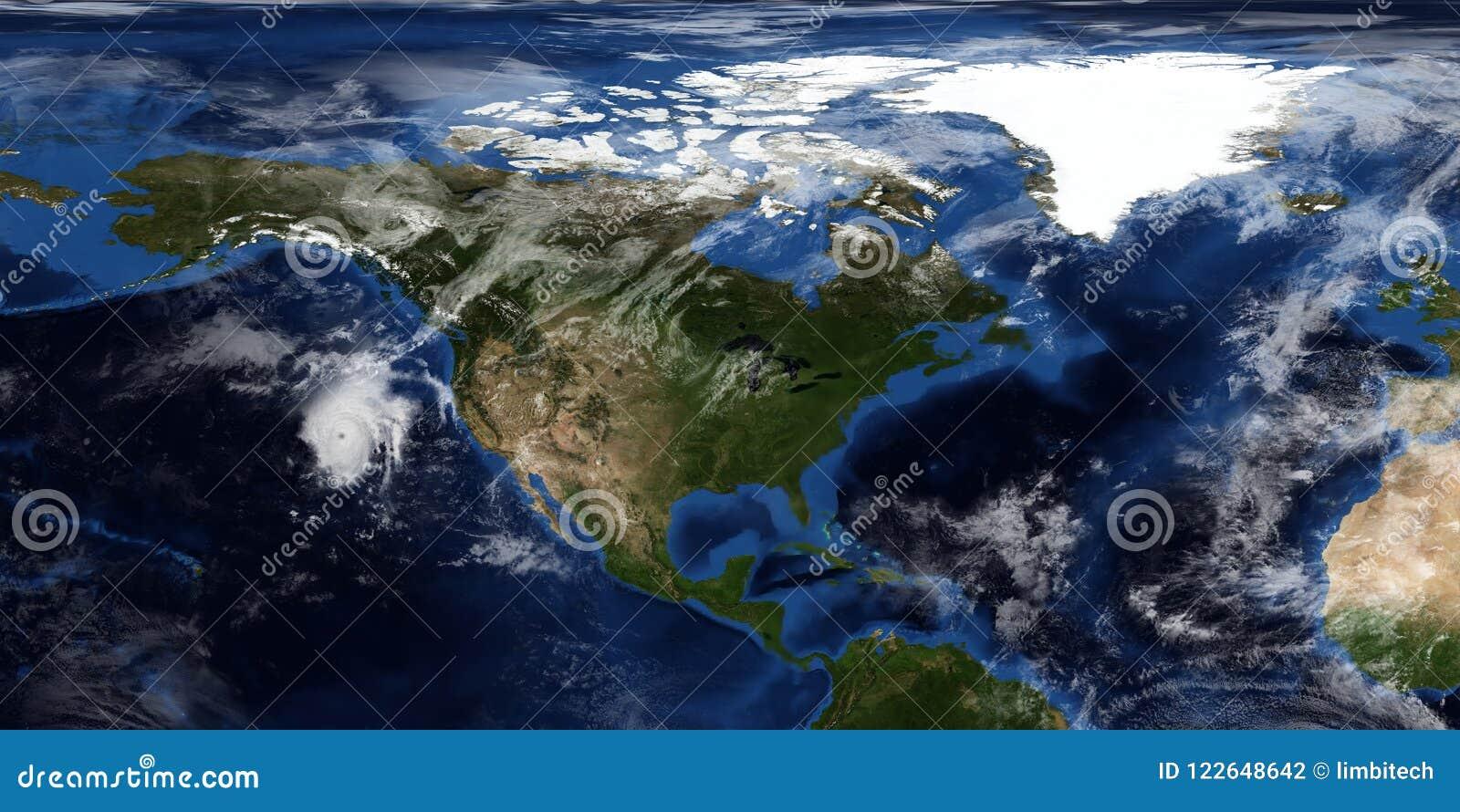 Uiterst gedetailleerde en realistische 3D illustratie van een Orkaan die Noord-Amerika naderen Geschoten van ruimte Elementen van