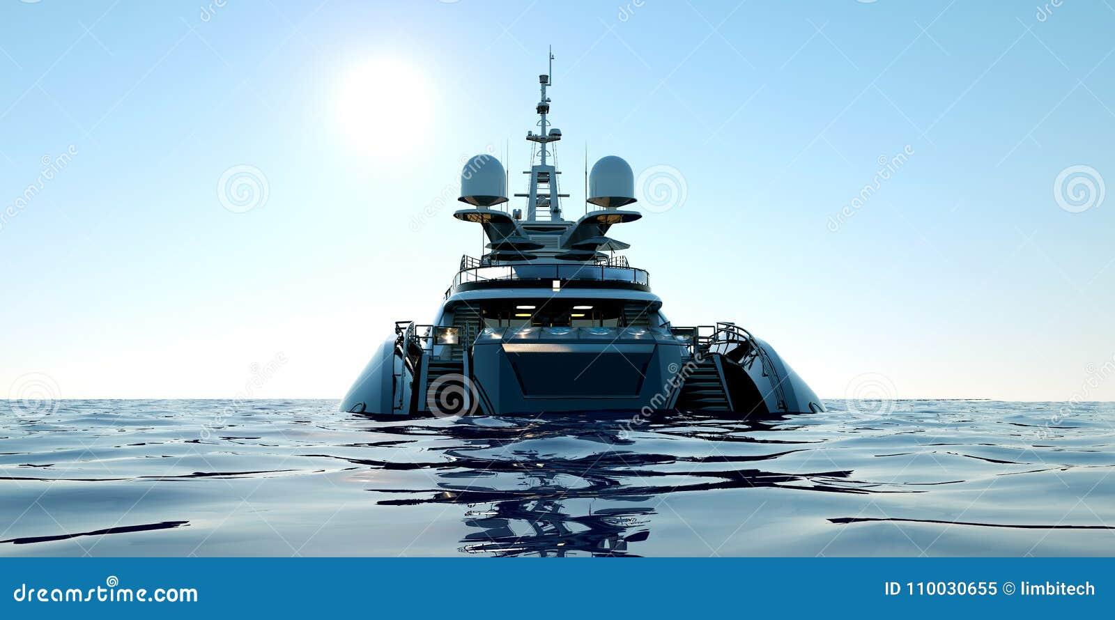 Uiterst gedetailleerde en realistische hoge resolutie 3D illustratie van een luxe super jacht