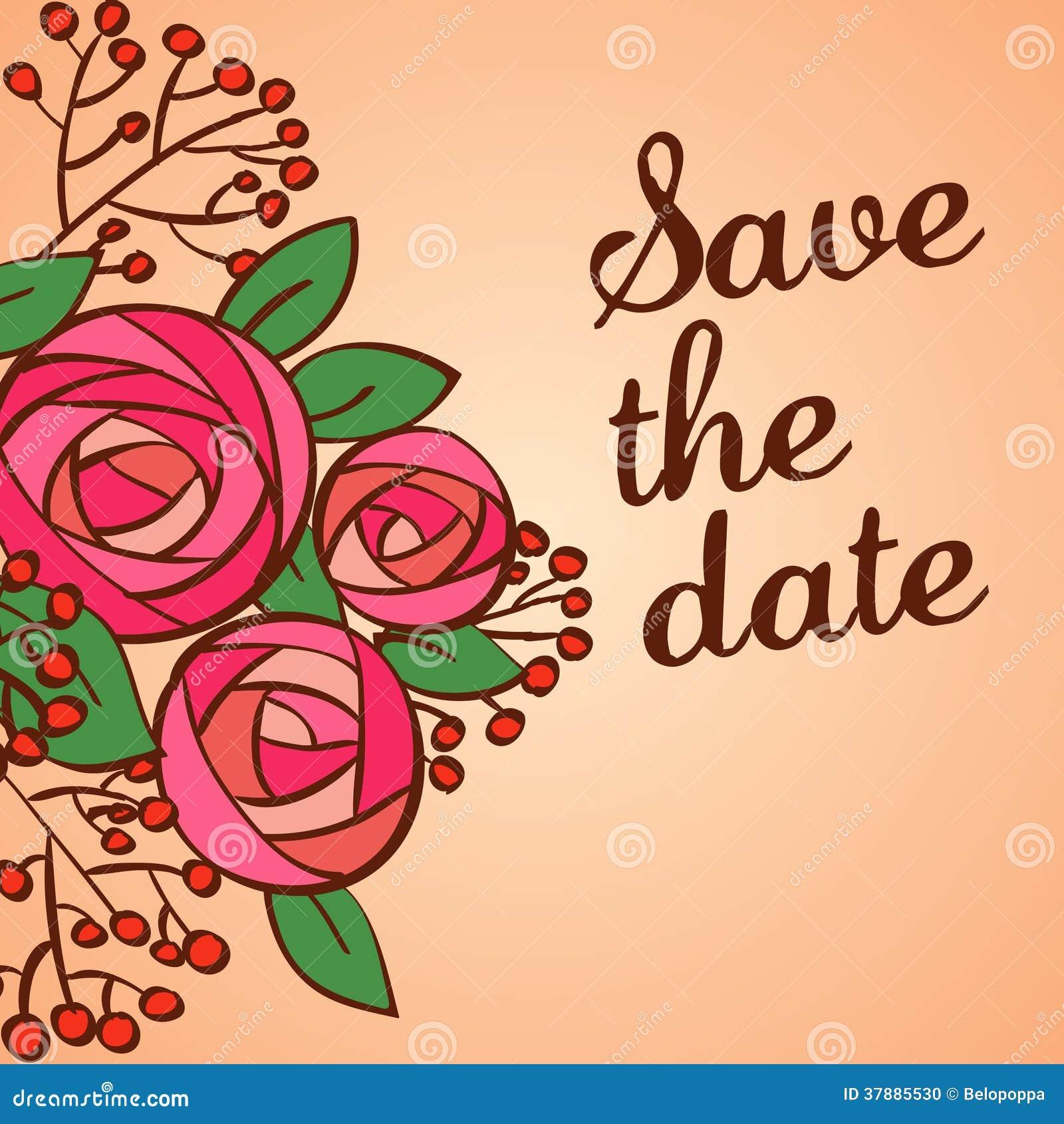 Uitnodiging of huwelijkskaart met bloemenachtergrond