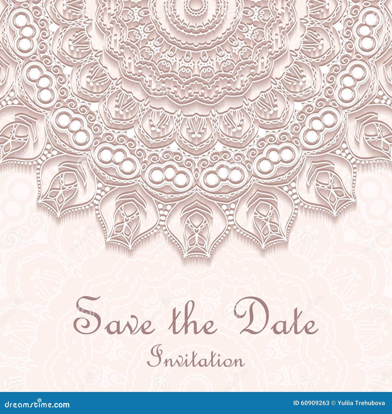 Uitnodigingskaart Op Huwelijk Verjaardag Achtergrond Met Mandala