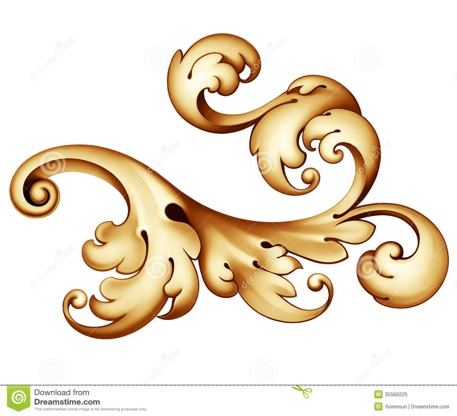 Uitstekend Barok gouden rolornament