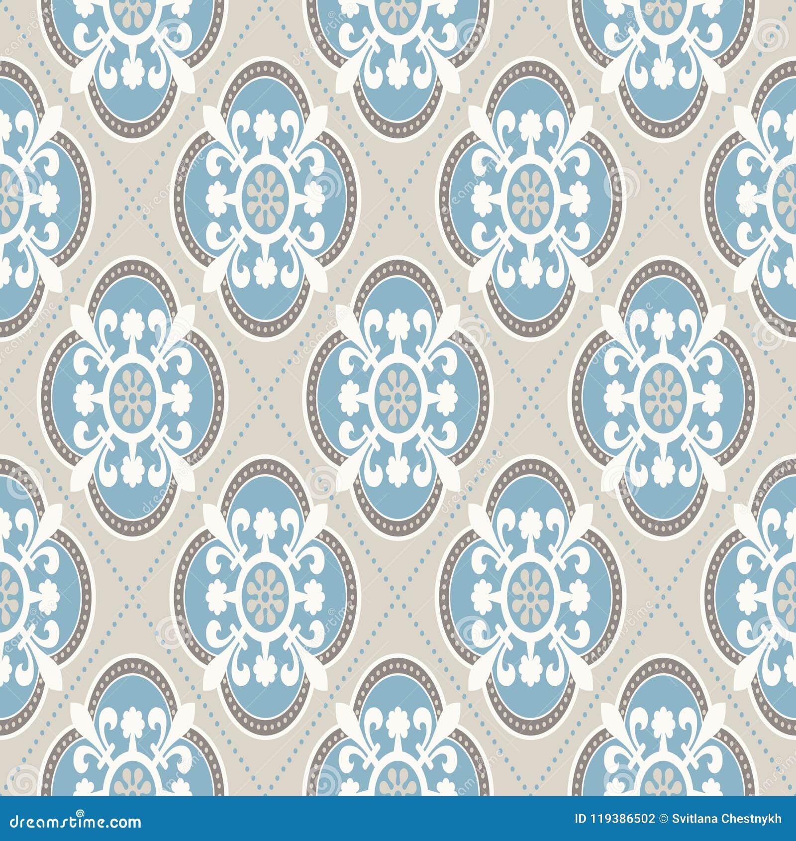 Uitstekend behang Modern geometrisch die patroon, door oud behang wordt geïnspireerd Retro kleuren van Nice - grijs beige en kalm