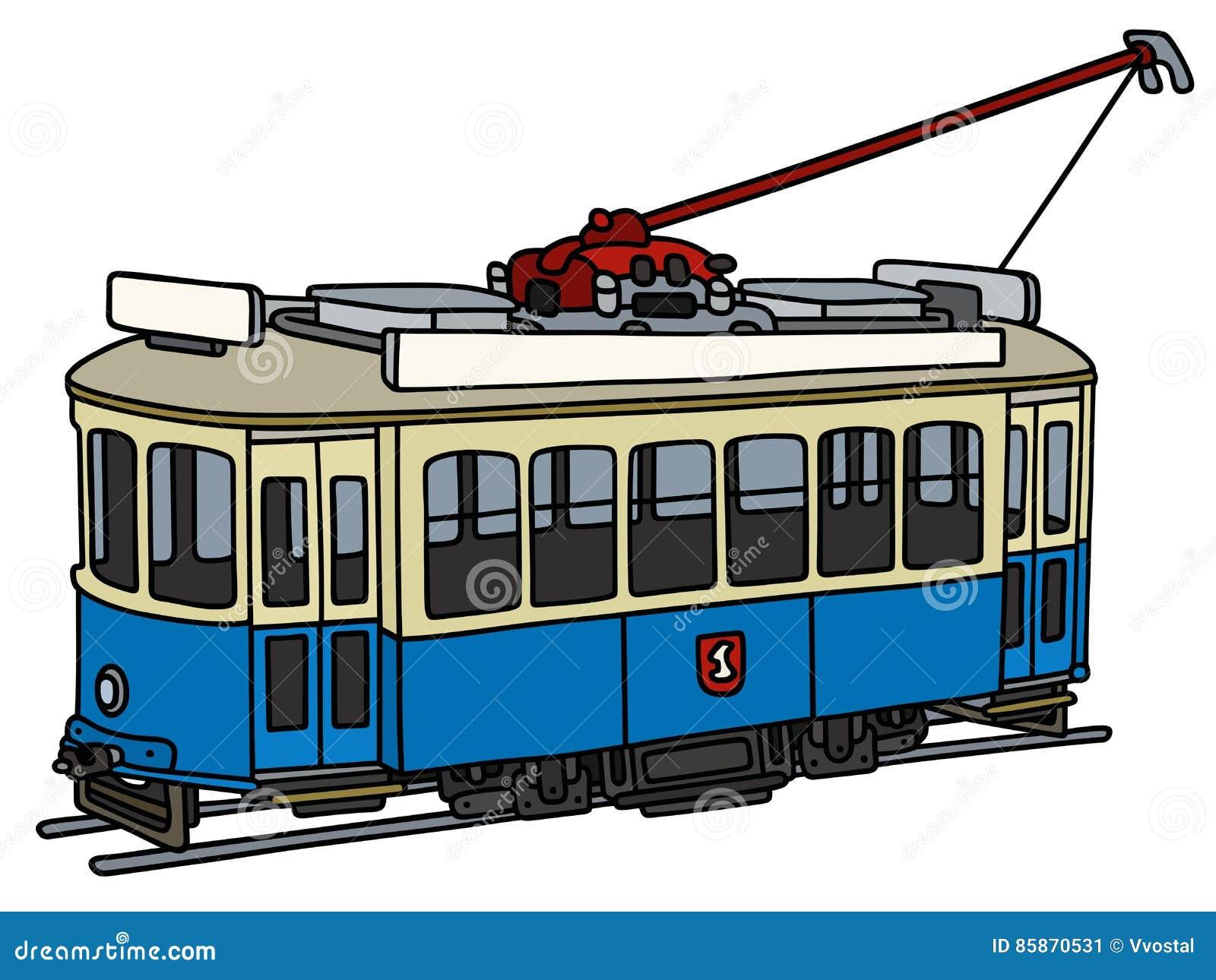 Uitstekend blauw tramspoor